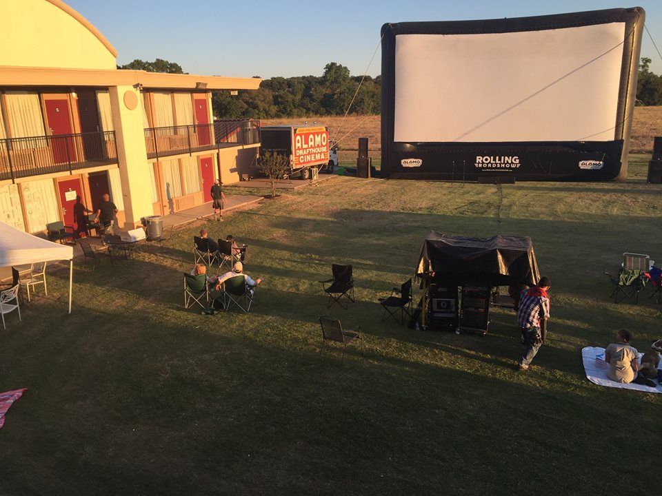 Alamo Drafthouse Rolling Roadshow 's largest screen in honor of the 5th Lovely Soiree.  Photo Credit  Bradley Fack
