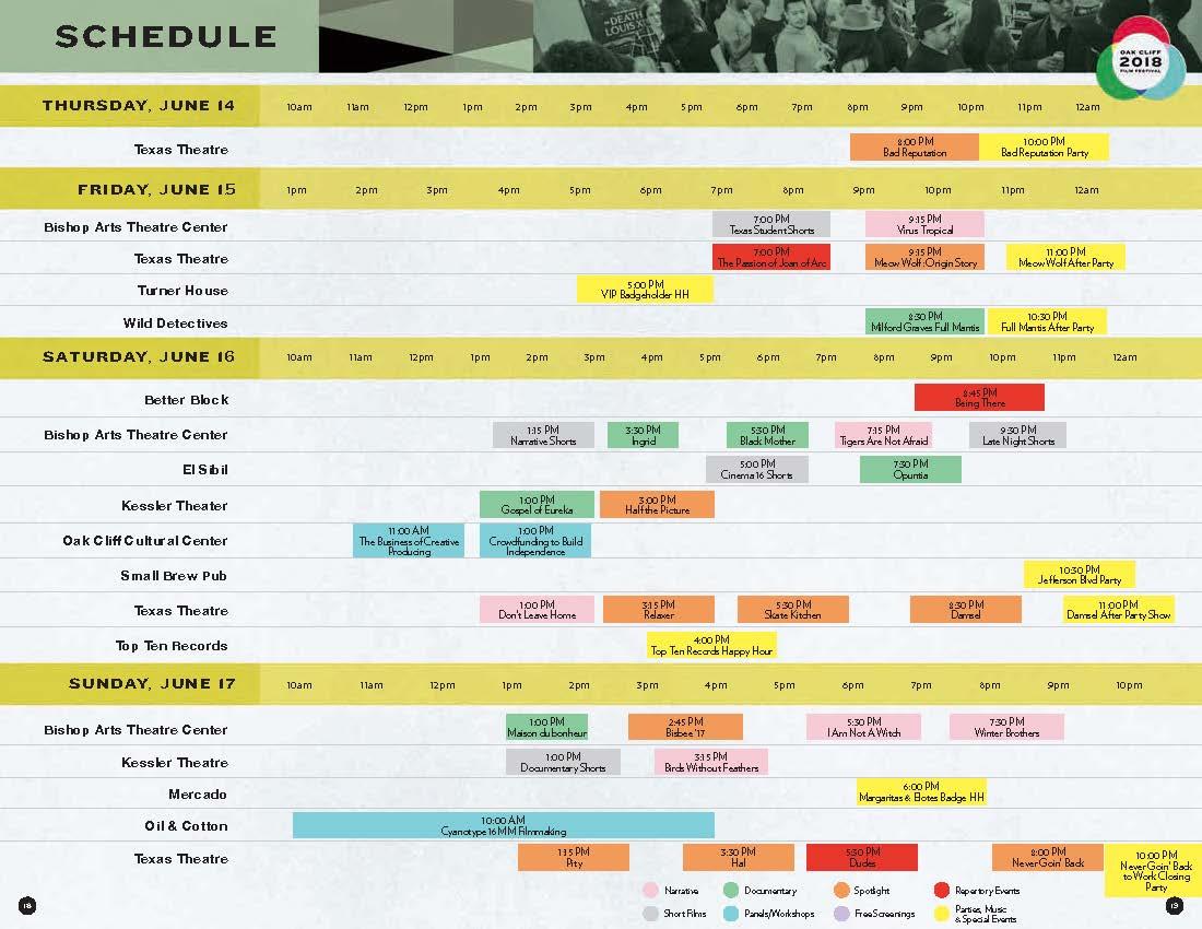 2018 OCFF Schedule
