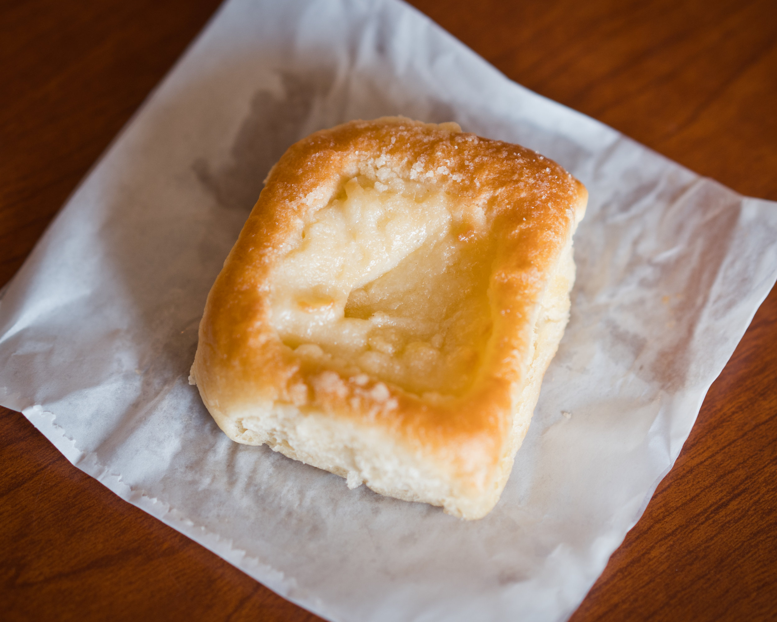 We were in for a real treat with Village Bakery's kolache. The cream cheese is the hero in this confection. It was unlike any other in our taste test. Angel kisses must be on the list of ingredients. The pastry had the same sweetness as the sausage roll and that's a good thing.