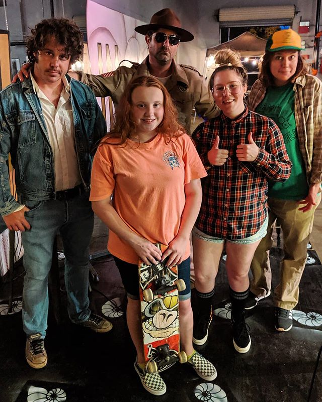 Stranger Things at @newmainbrewing was a blast! Mad Max went home the winner in the costume contest and even let Billy kick flip her skateboard. Huge thanks to all who came out and to New Main for letting us come play at their house! ... #StrangerThings3 #Netflix #StrangerThings #StrangeyTangs #Cosplay #Costume #MadMax #JusticeForBarb #BadBilly #CoffeeAndContemplation #DustinHenderson #CampKnowWhere