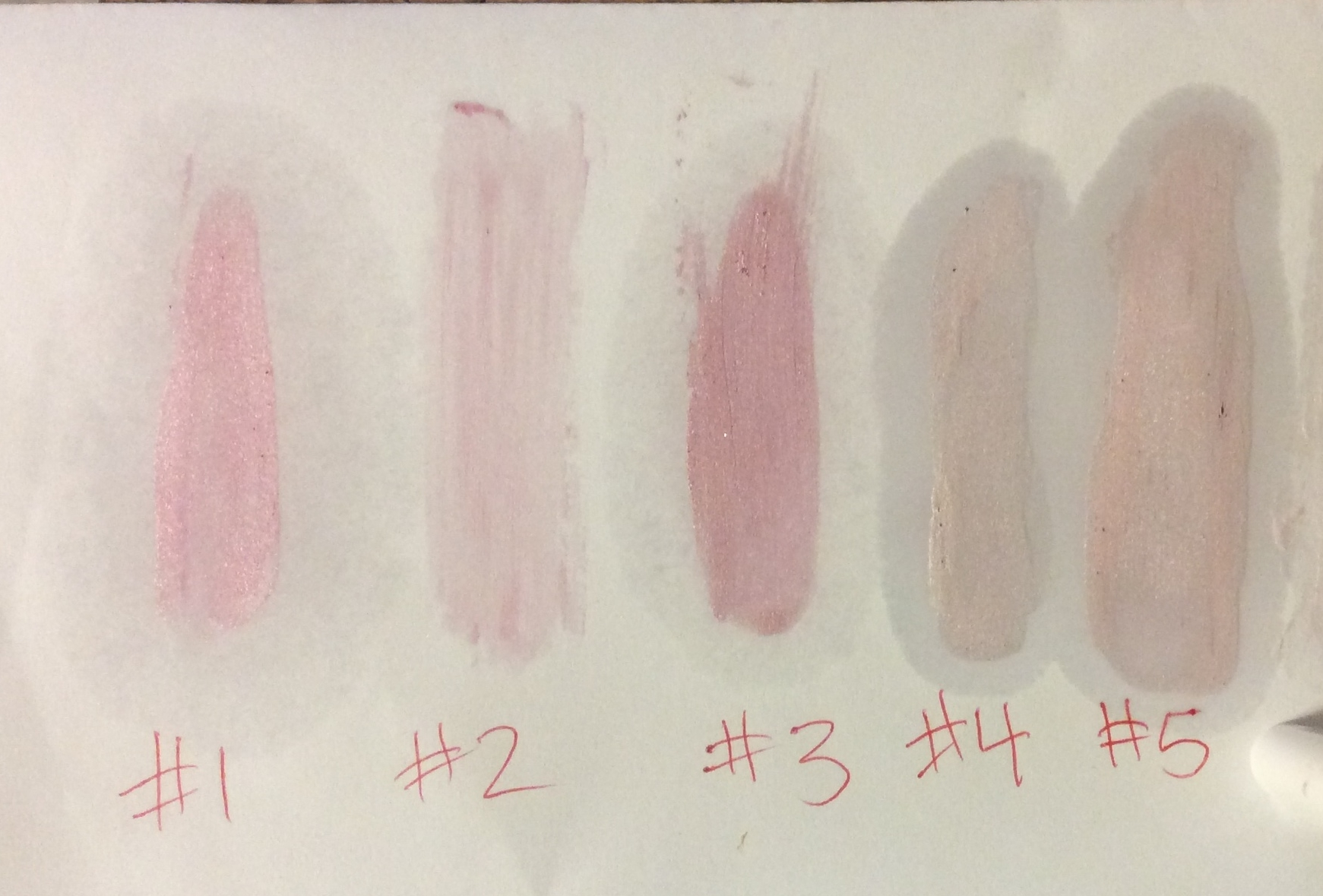 Too pink, not enough shimmer, way too pink, a little too light, but #5 is Just RIGHT!