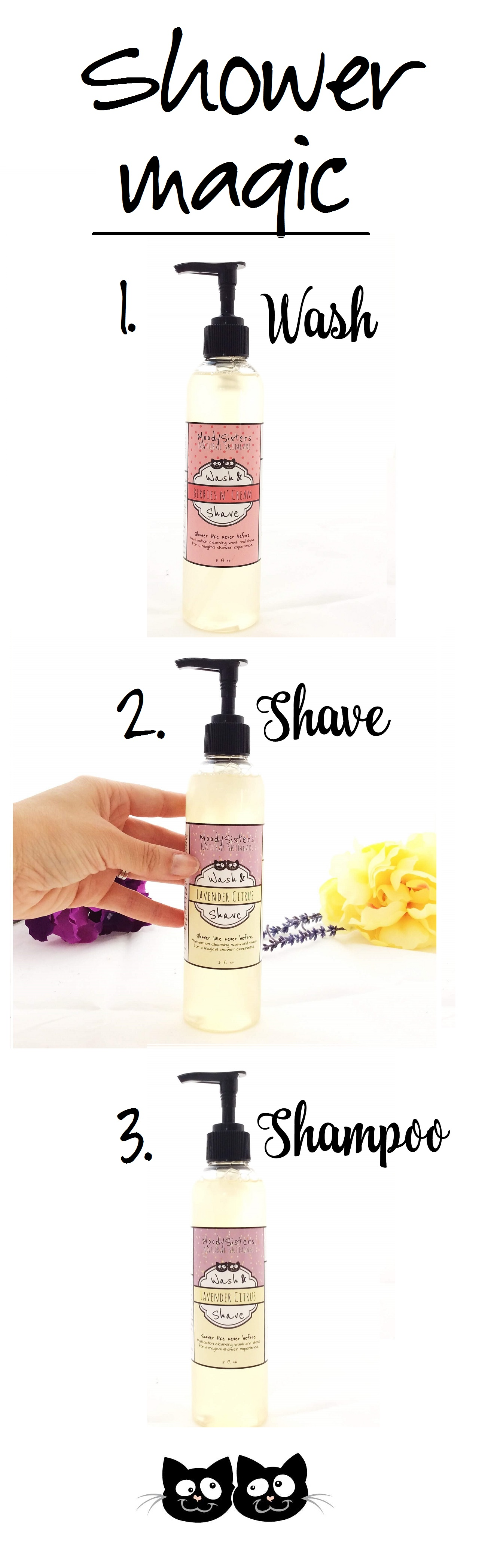 Moody Sisters Body Wash Shave and Shampoo