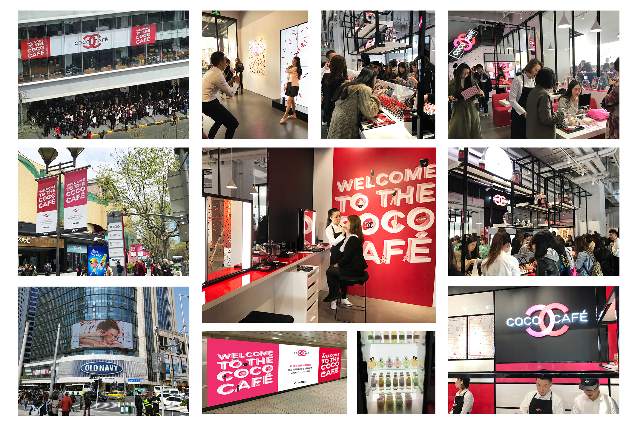 Inside and outside of Coco Cafe. The event was supported by large digital billboards on buildings and subways; banners all around JingAn Temple area of Shanghai.