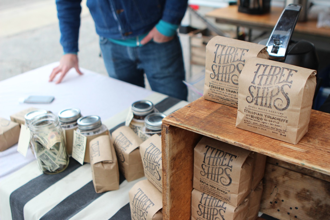 Three Ships Coffee working a pop-up outside of Handsome Biscuit in Norfolk, VA