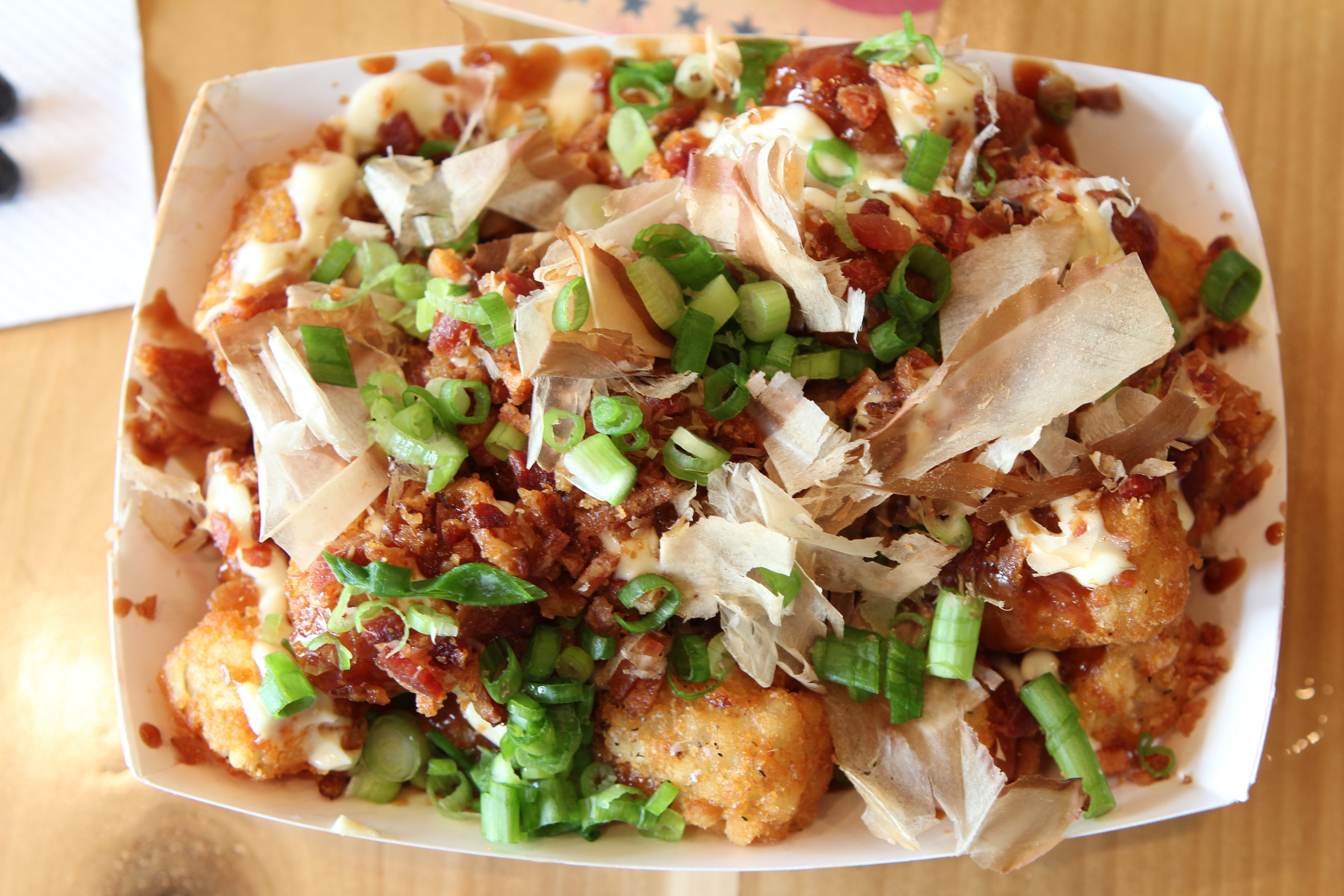 Tater Tot Okonomiyaki...a must try. Click the photo to see it move.