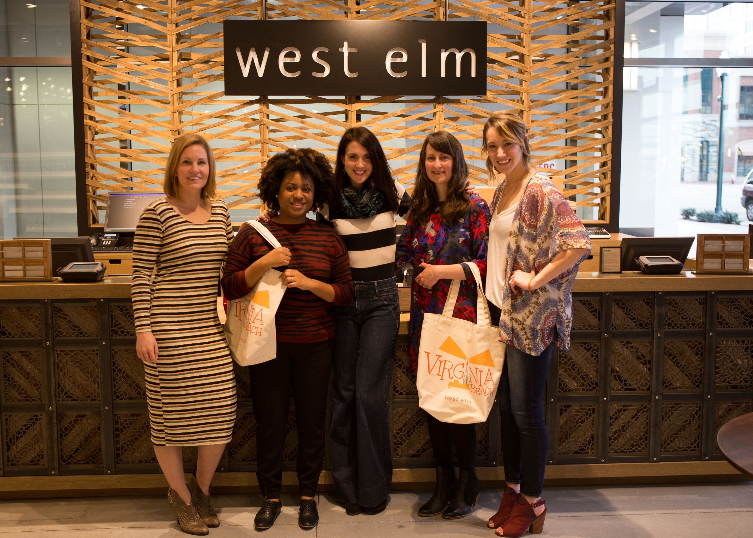 Christina, Jonna, Nicole, Shelby and Kristen at the new West Elm in Virginia Beach