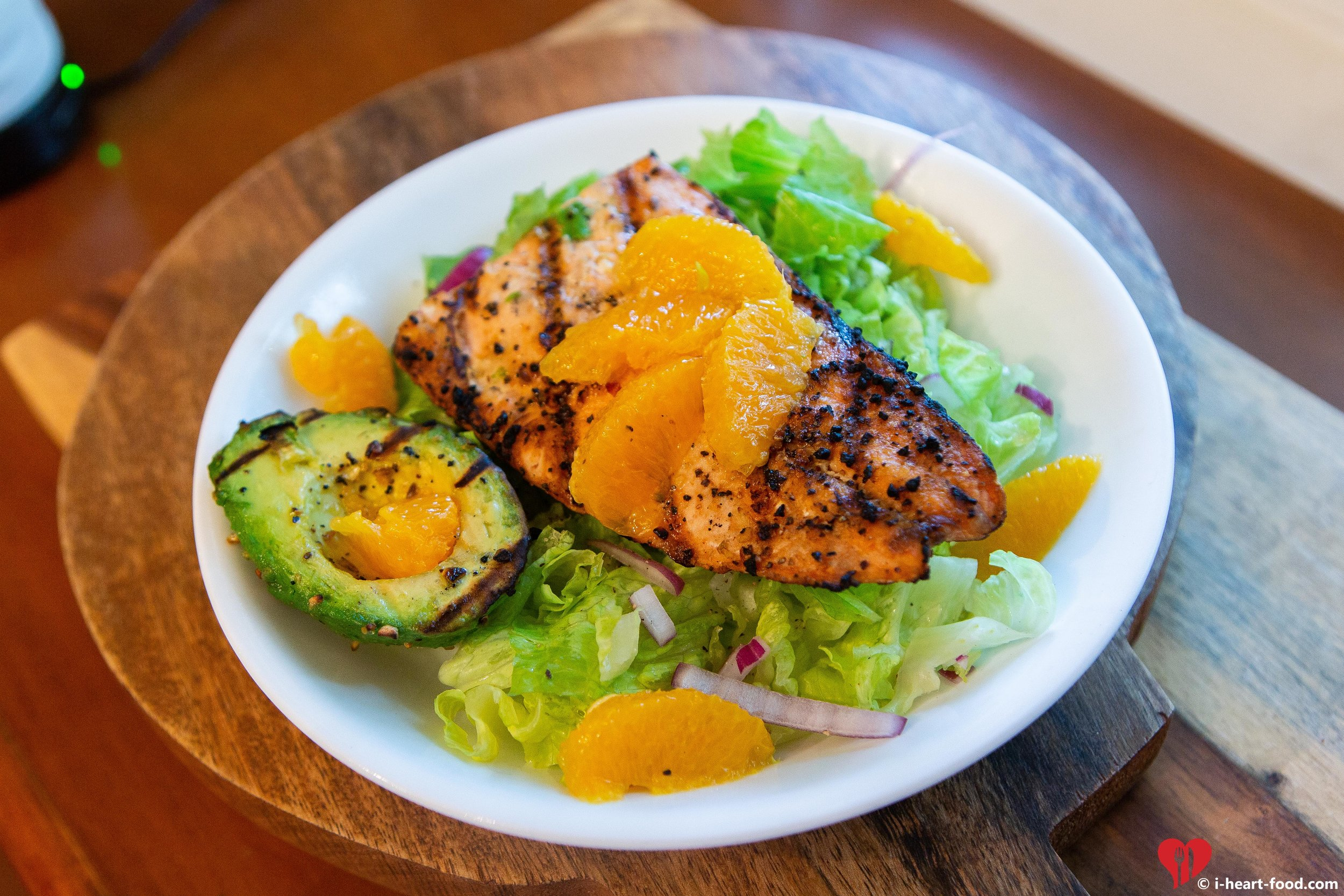 Avocado and Citrus Salad with Grilled Salmon