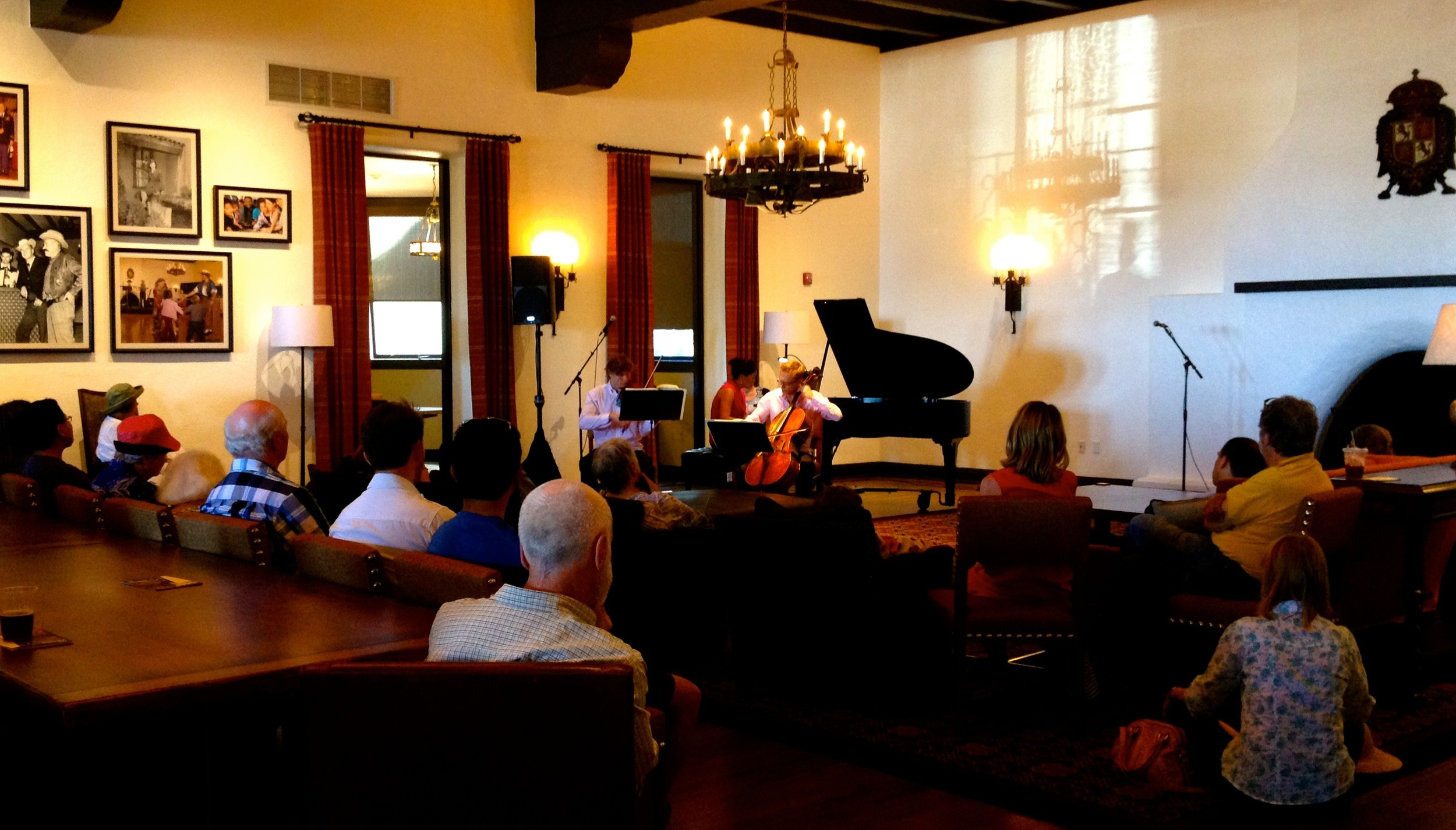 A most warm, welcome and captivated audience lounging in chairs , sitting on the floors and standing int he back listening to Piazzolla and Beethoven. A truly inspiring and gratifying experience!
