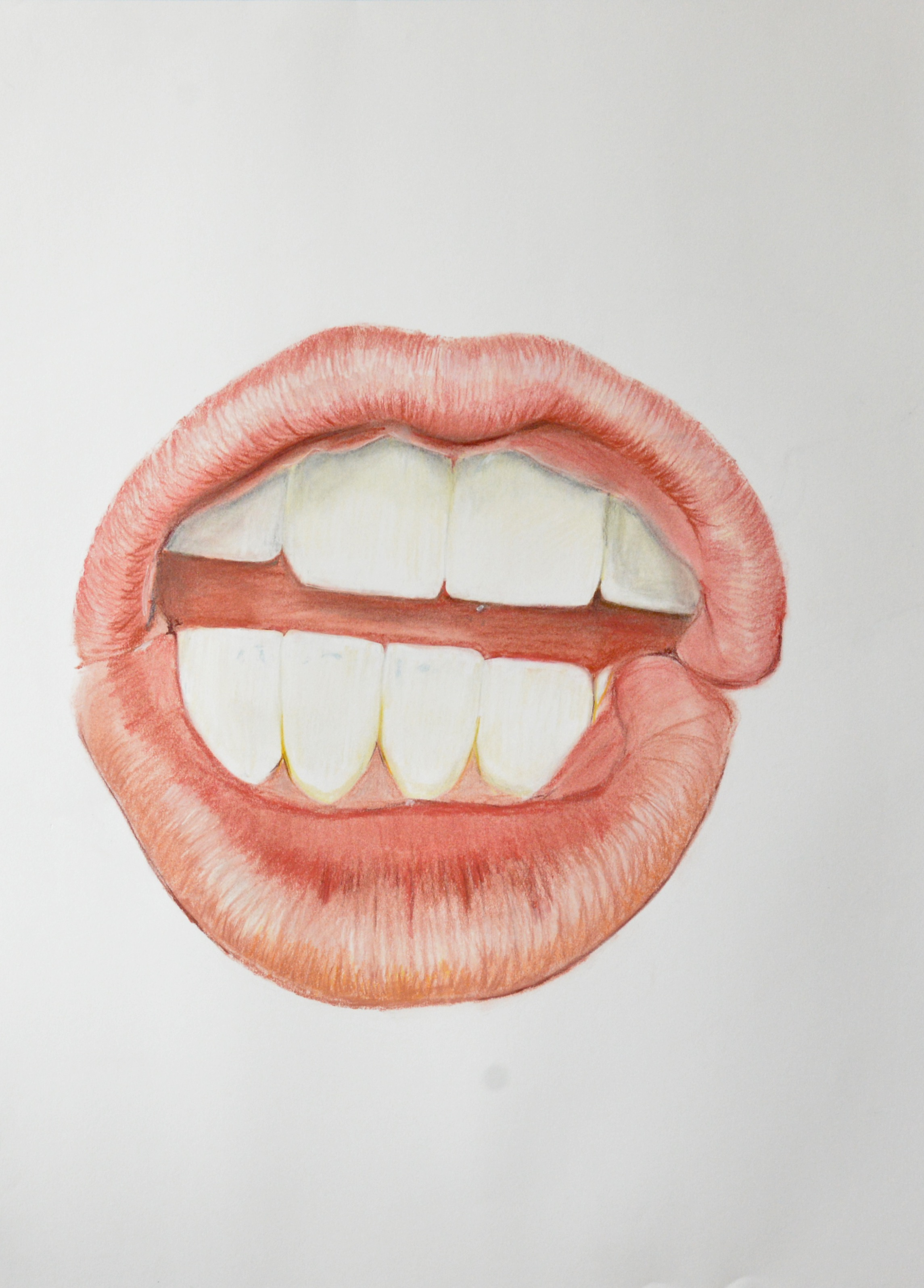 "Mouth, color pencil on paper, 30"" x 22"", 2016"
