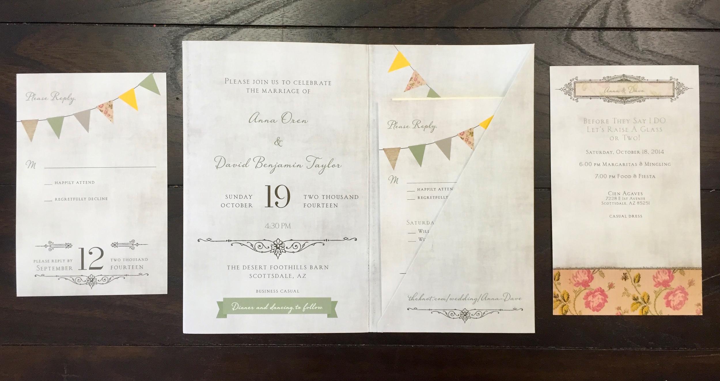 Scottsdale Wedding Invitation, Reply Card, Reception Card