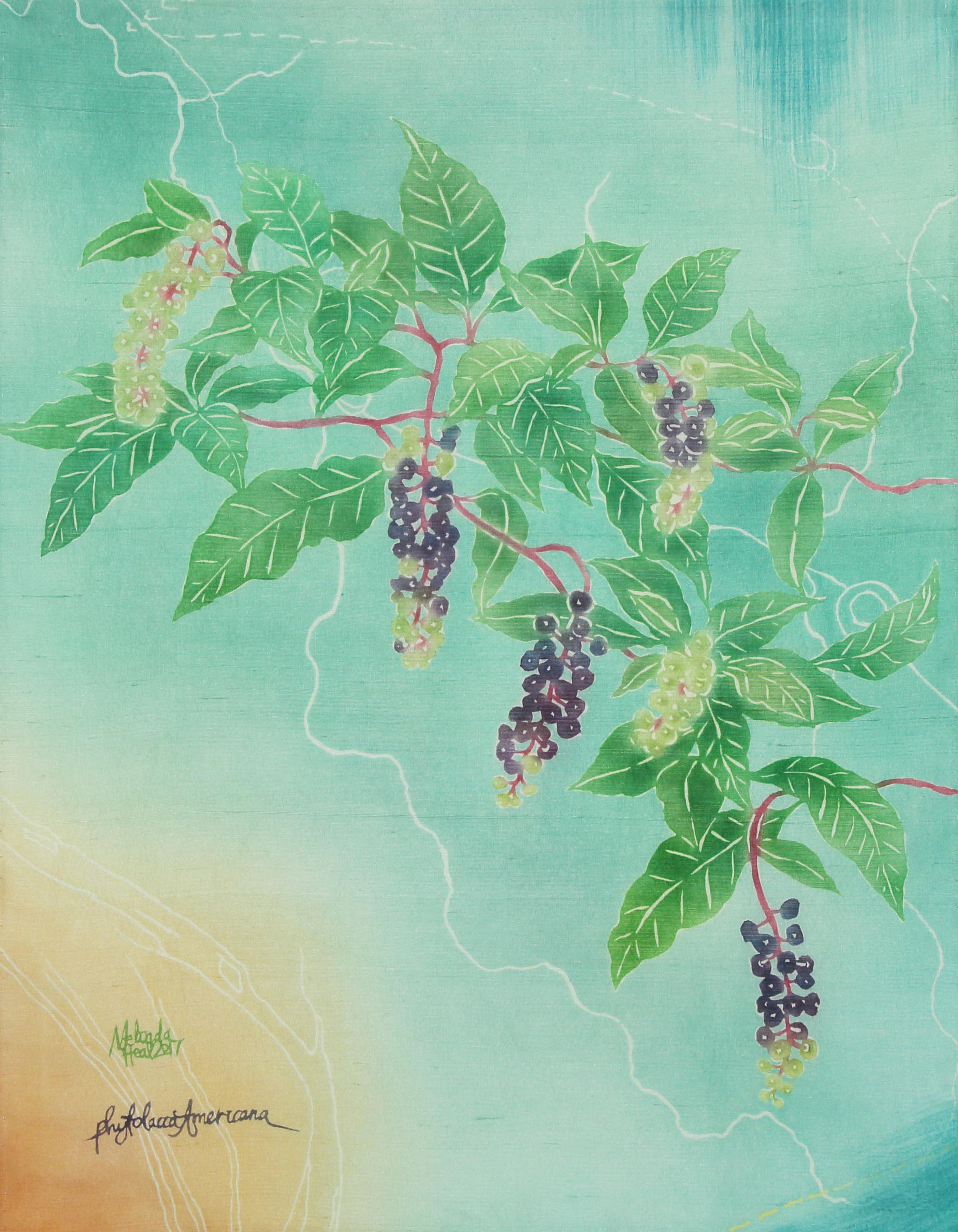 Pokeweed - My Weeds are Your Weeds Series - katazome and yuzen on silk dupion, 2017
