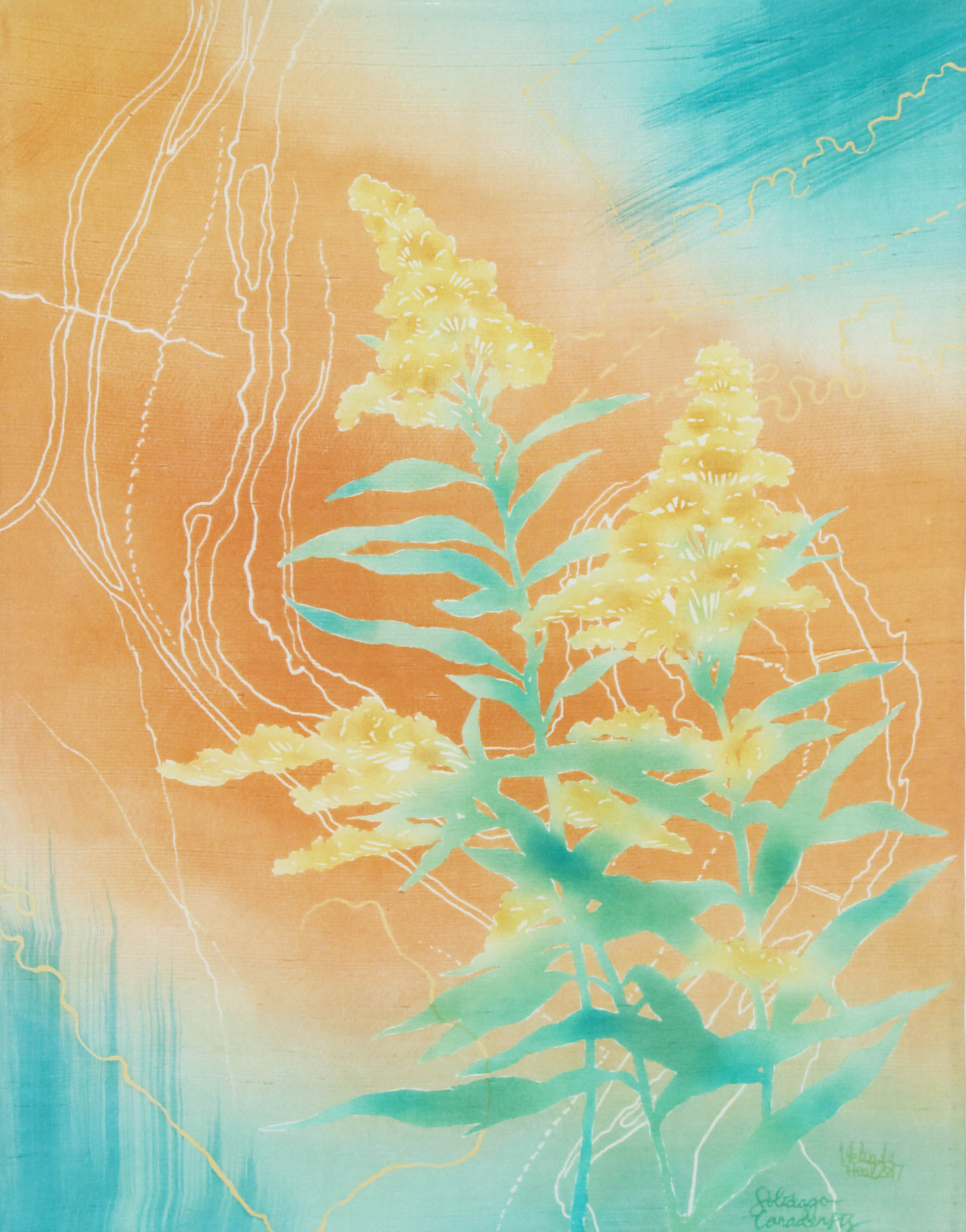 Goldenrod - My Weeds are Your Weeds Series - katazome and yuzen on silk dupion, 2017