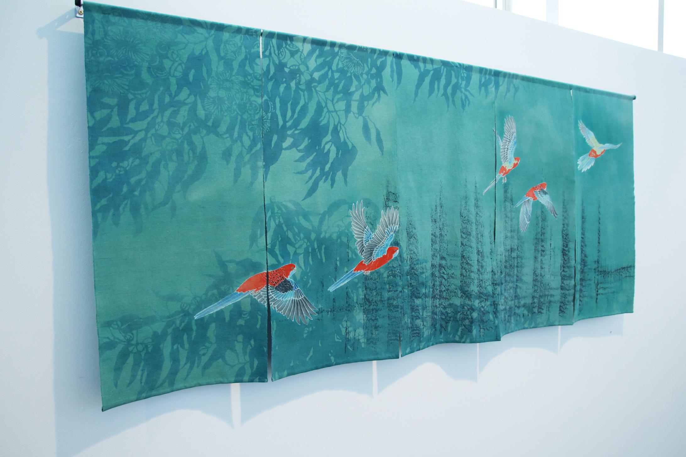 Call of the Crimson Rosellas yuzen and katazome on vintage kimono silk, 2015
