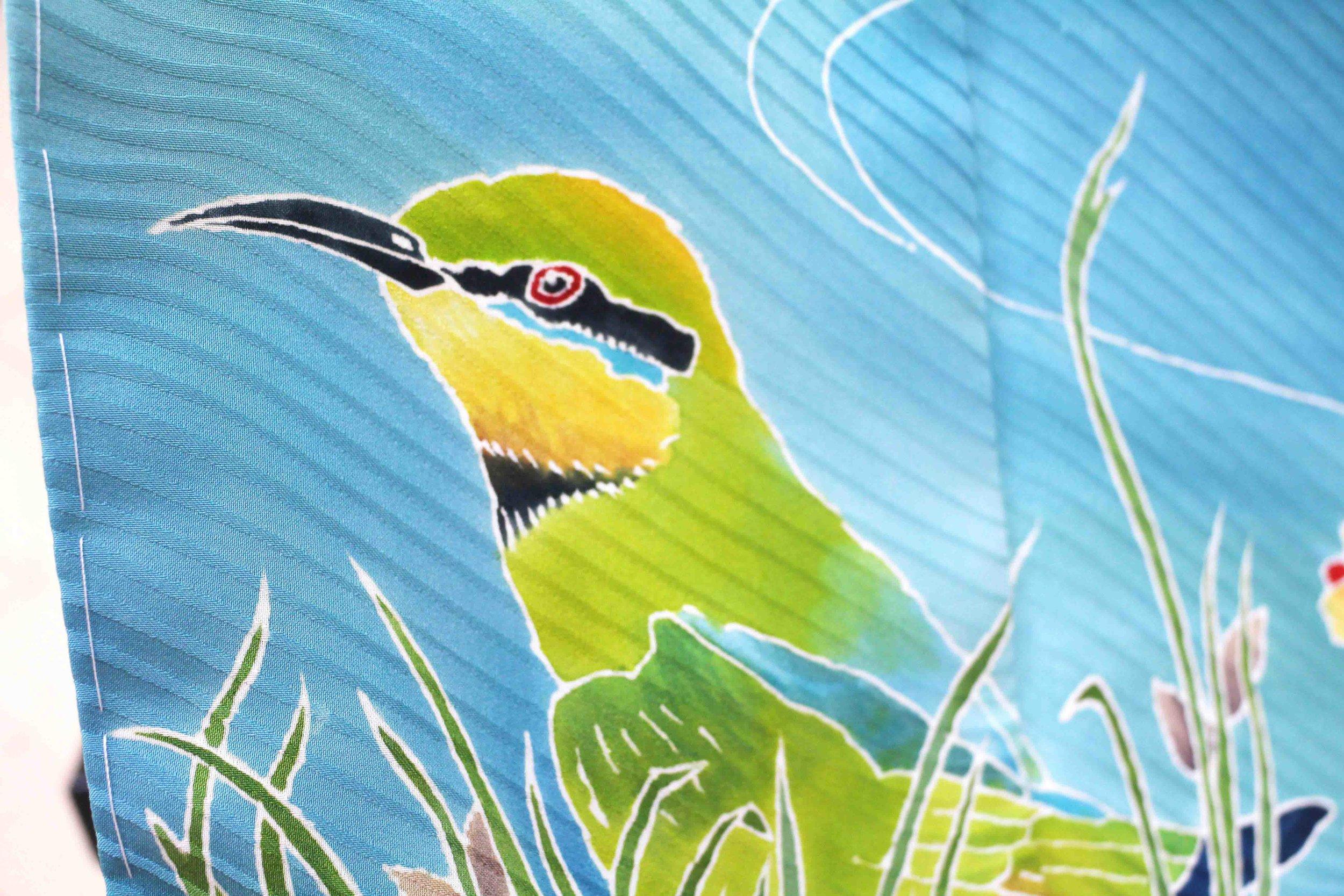 Rainbow Bee-eater Furisode (detail) 2013, kimono self-patterned silk, yuzen.