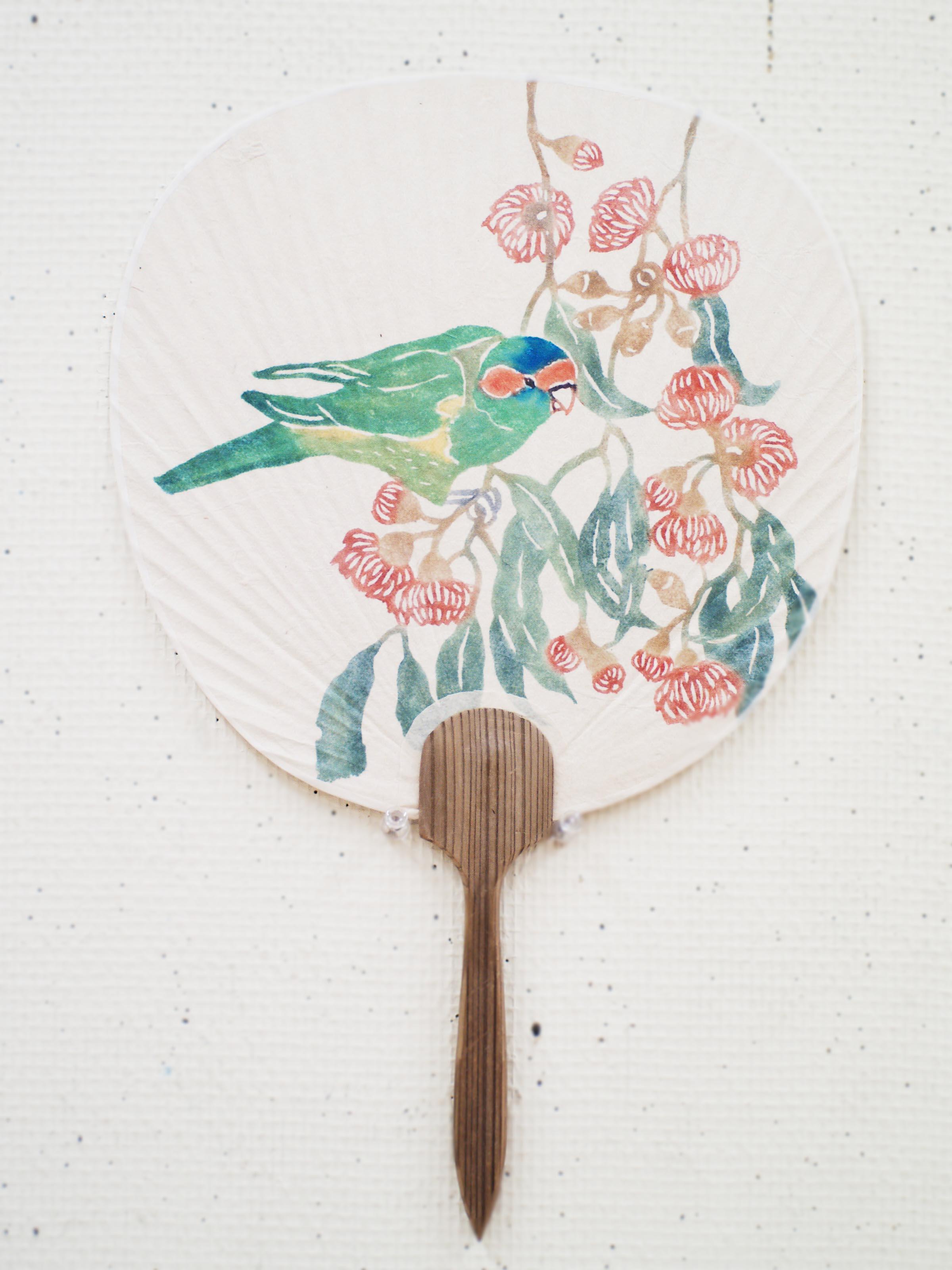 Musk Lorikeet Uchiwa  2012. katazome on washi, vintage Japanese fan frame and handle.