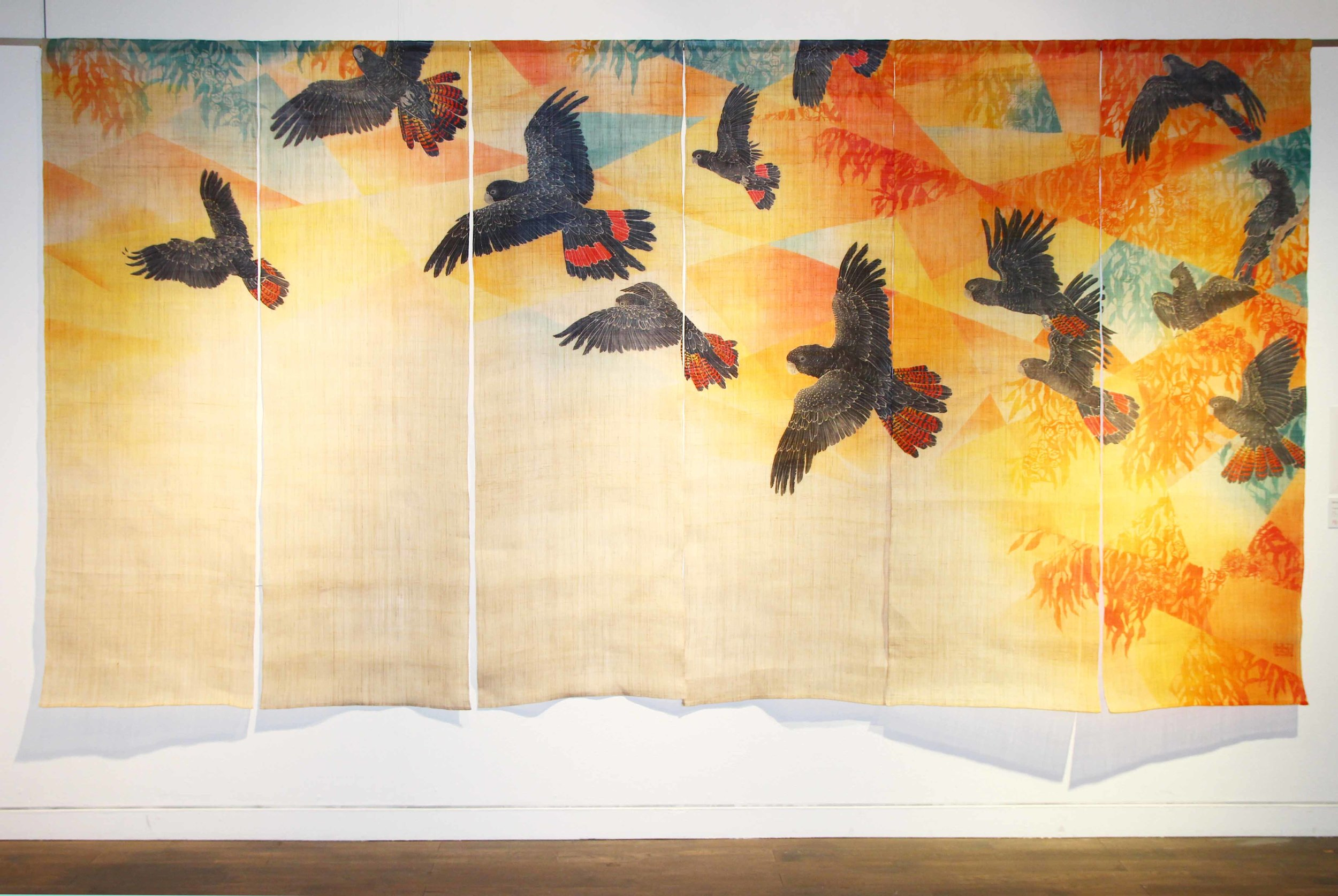 Fragmentation, 2014. Yuzen and Katazome on Linen. Red-tailed Black Cockatoos fly amongst their slowly fragmented Eucalypt habitat