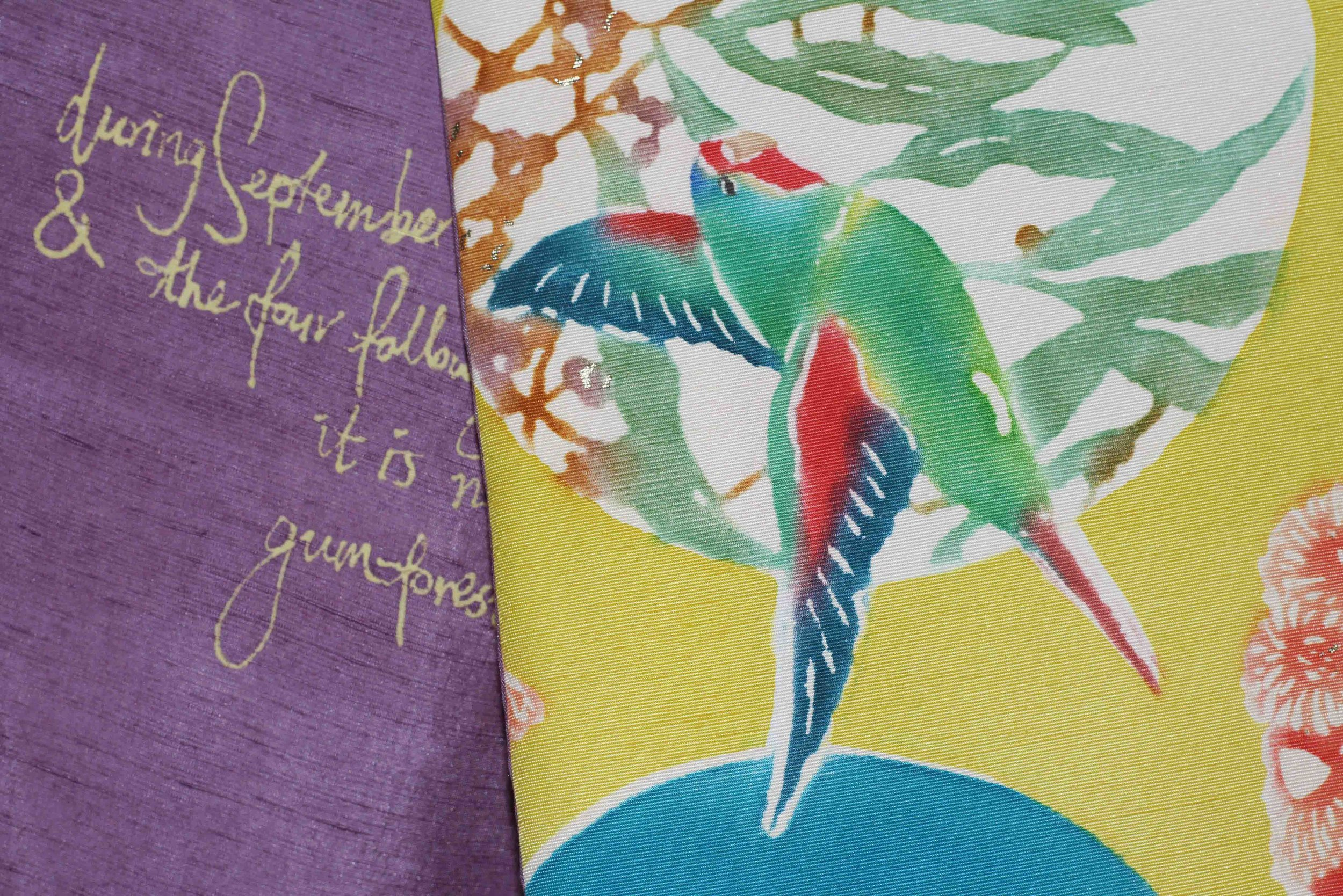 Swift Parrot Obi (detail) 2014. Katazome on front side, yuzen on lining side. Features text from Ornithologist John Gould, singing the praises of the once common Swift Parrot, which is now unfortunately endangered.