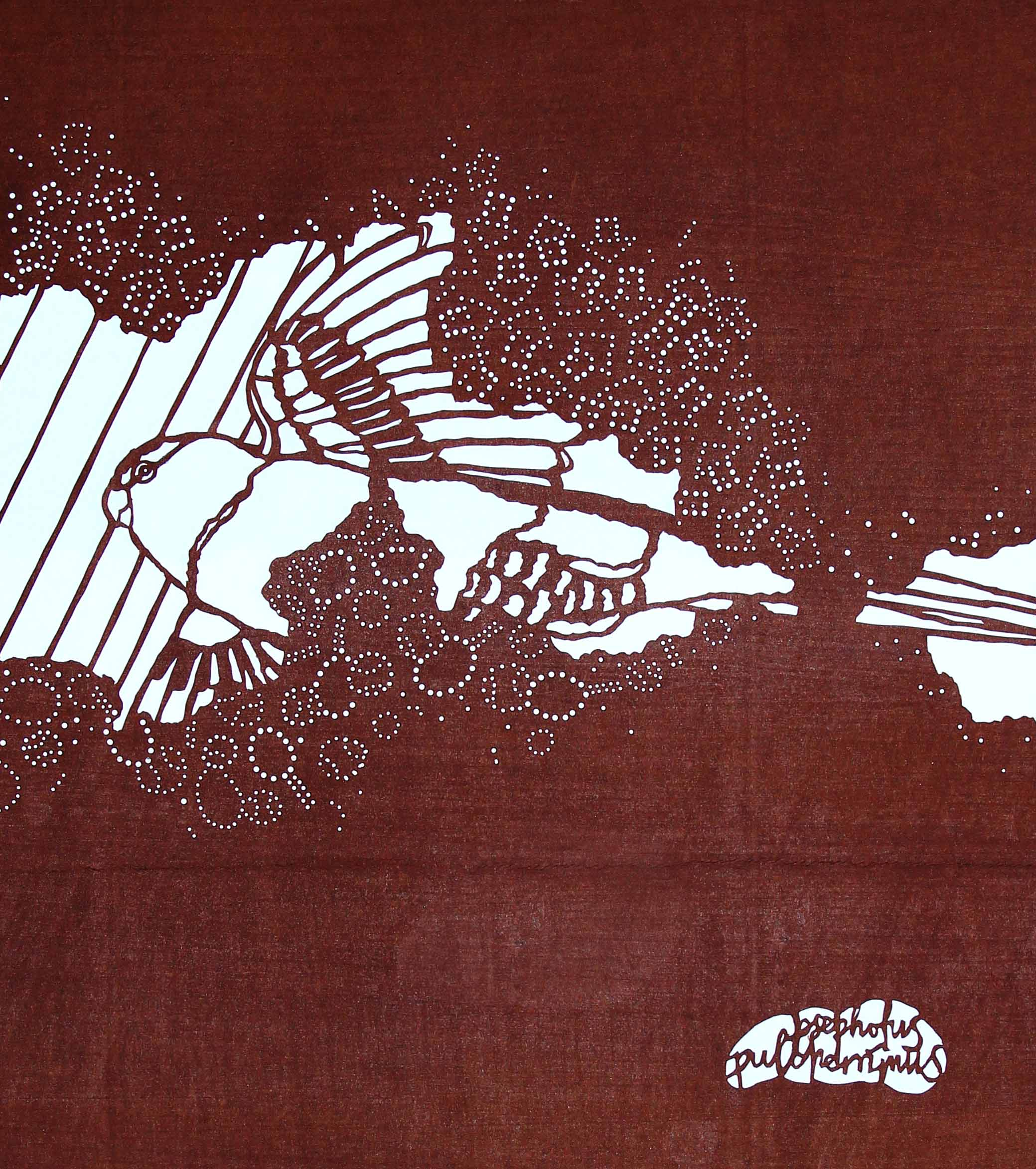 Hand-cut katagami stencil, Paradise Parrot, 2014. A playful depiction of the now extinct Paradise Parrot being overtaken by tennis courts and houses, suspected factors in the demise of their termite-mound nest sites and ultimately the species.