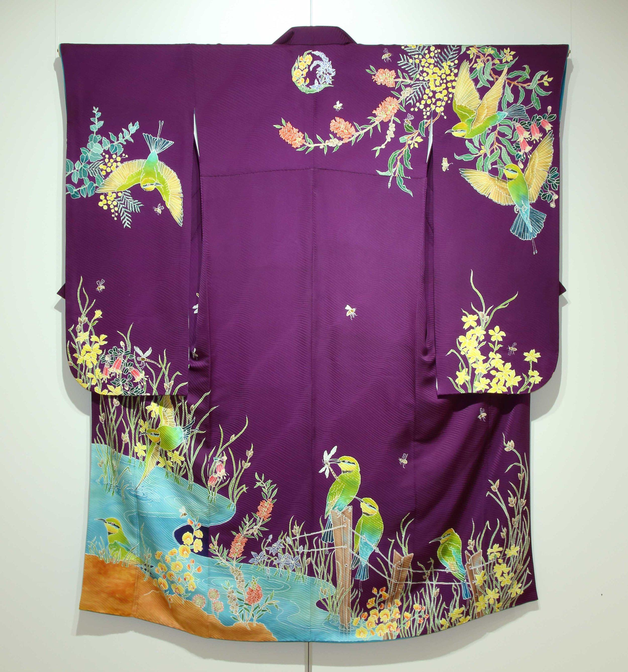 Rainbow Bee-eater Furisode  2013, kimono self-patterned silk, yuzen.