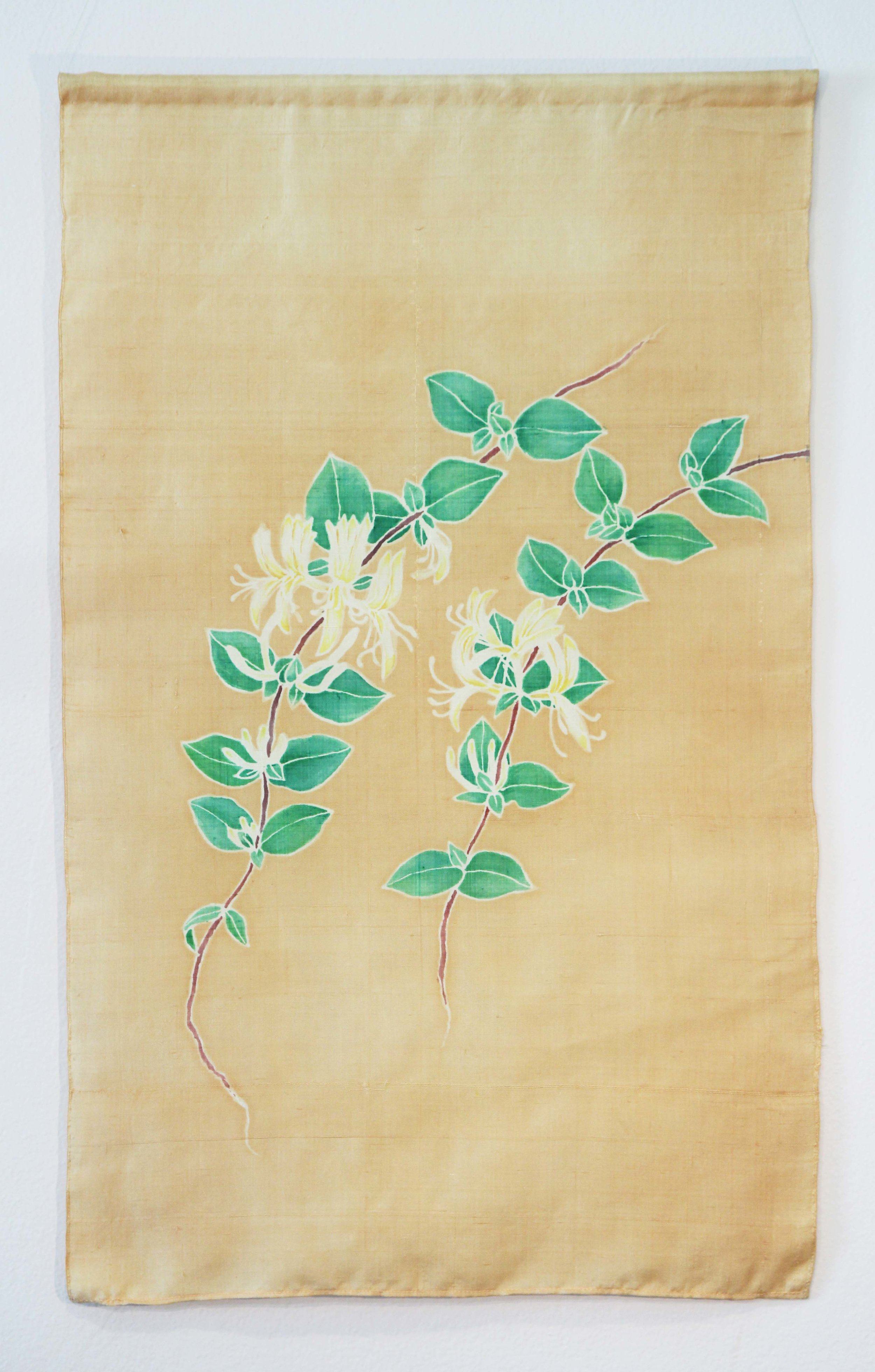 """""""Beautiful Weeds of Canberra - Japanese Honeysuckle"""" 2016. Eucalyptus and chemical dyes on recycled Kimono silk."""