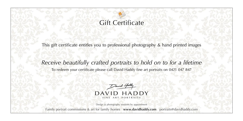 David Haddy fine art portraits Gift Certificates