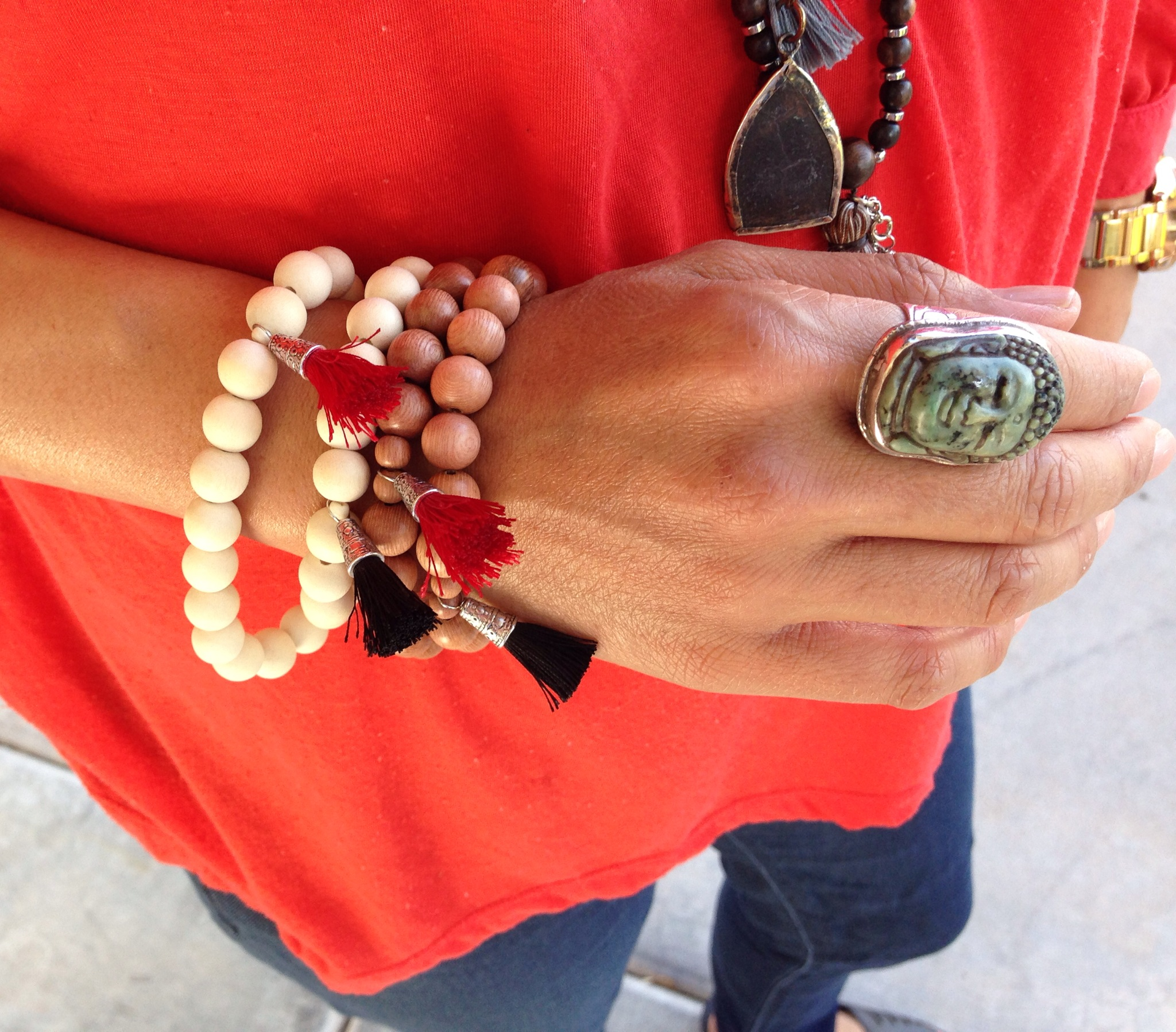 Sustainable mala bead bracelets from our upcoming Moda Mala collection.