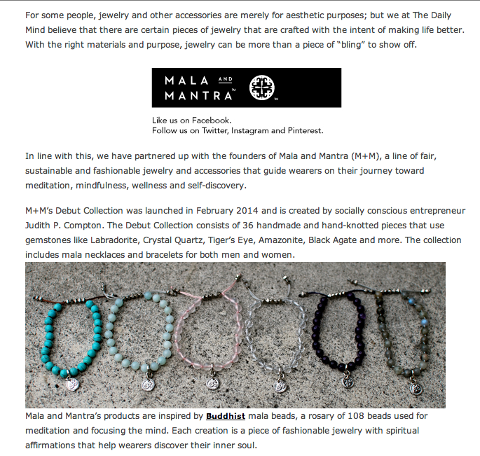We partnered with The Daily Mind to give one lucky reader a Rose Quartz Mini Tassel Mala Bracelet.