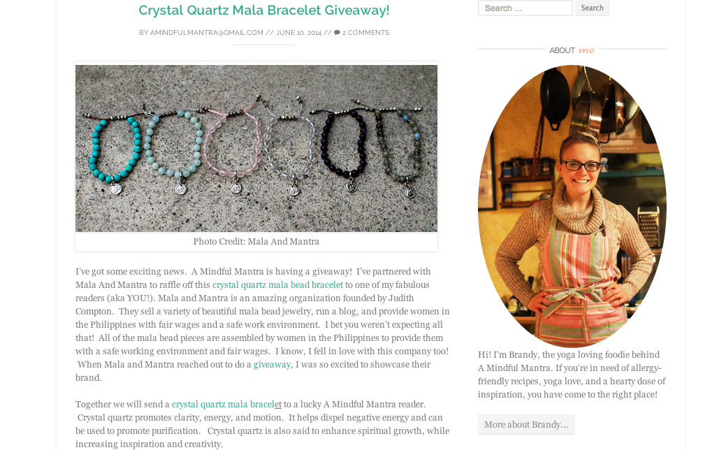 Brandy Oswald from A Mindful Mantra featured us on her beautiful blog, while also giving away a Crystal Quartz Mini Tassel Bracelet to one of her readers.