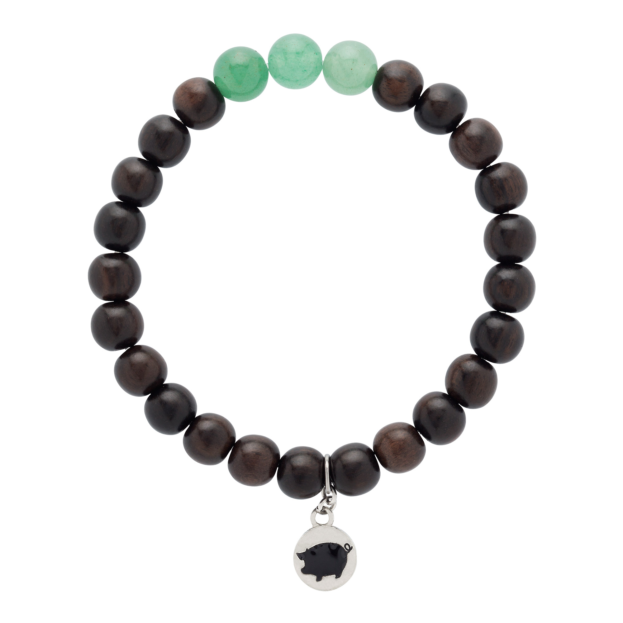Featuring sustainable robles wood beads + a trio of green aventurine gemstones, all hand-strung on an elastic band for easy on-and-off styling.