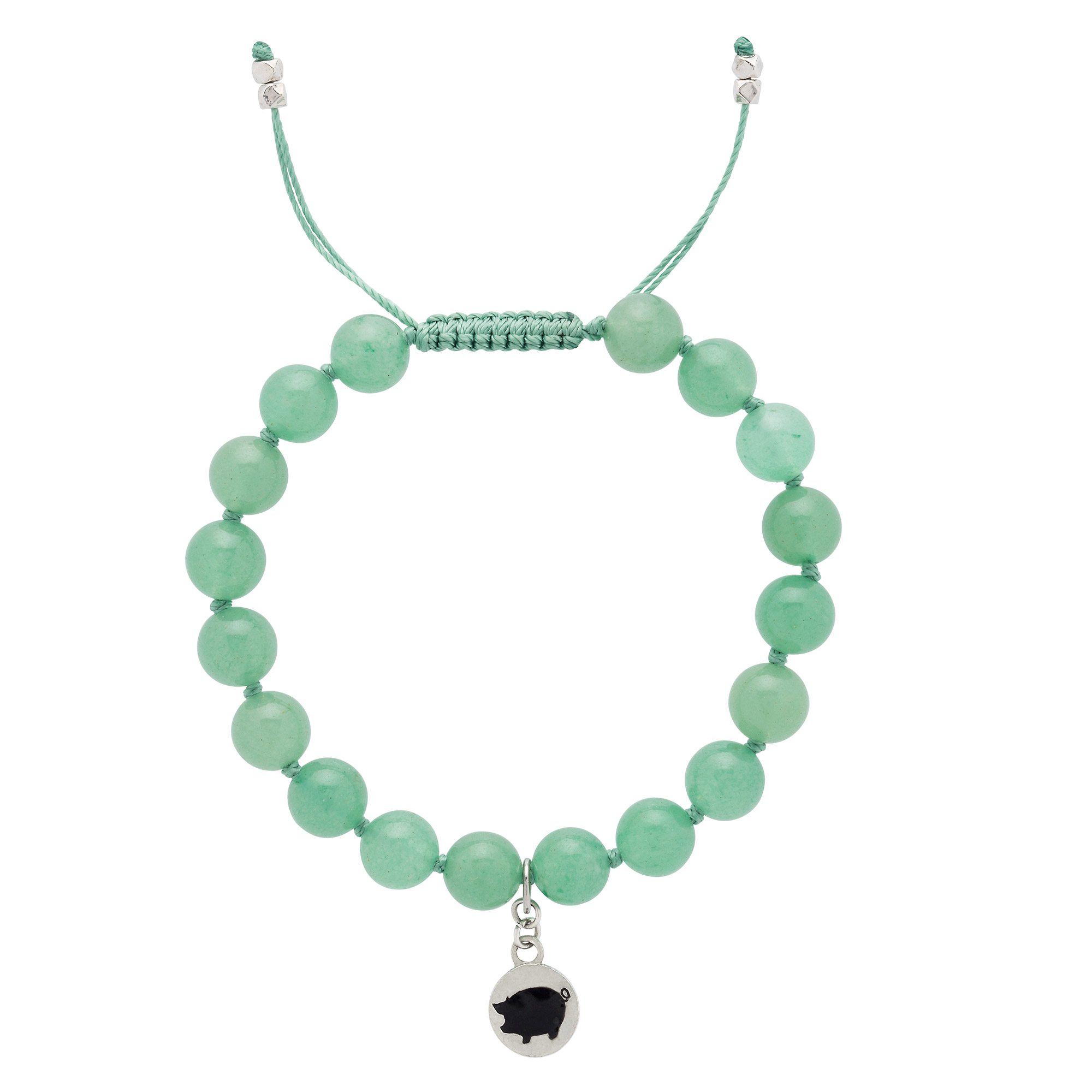 Featuring all-natural, semi-precious green aventurine gemstones, a dangling pig charm and a macrame slide closure.