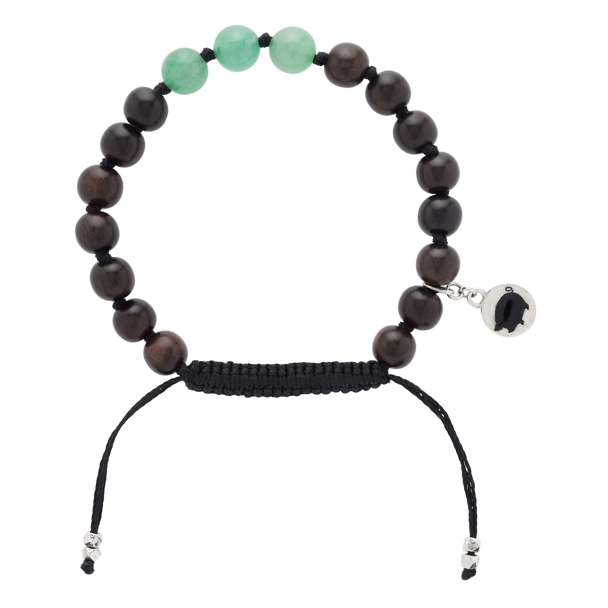 Featuring sustainable robles wood beads + a trio of green aventurine gemstones, plus a macrame slide closure for easily adjustable sizing.