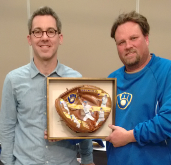 "Framed ""Team Streak"" Baseball Glove Art with artist Sean Kane and winner of the painting."