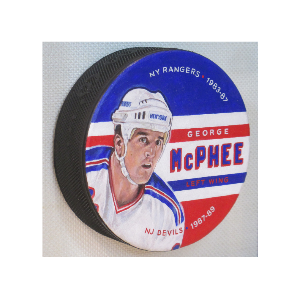 Example of Painted Puck artwork.   This George McPhee hockey puck painting is  NOT  available.