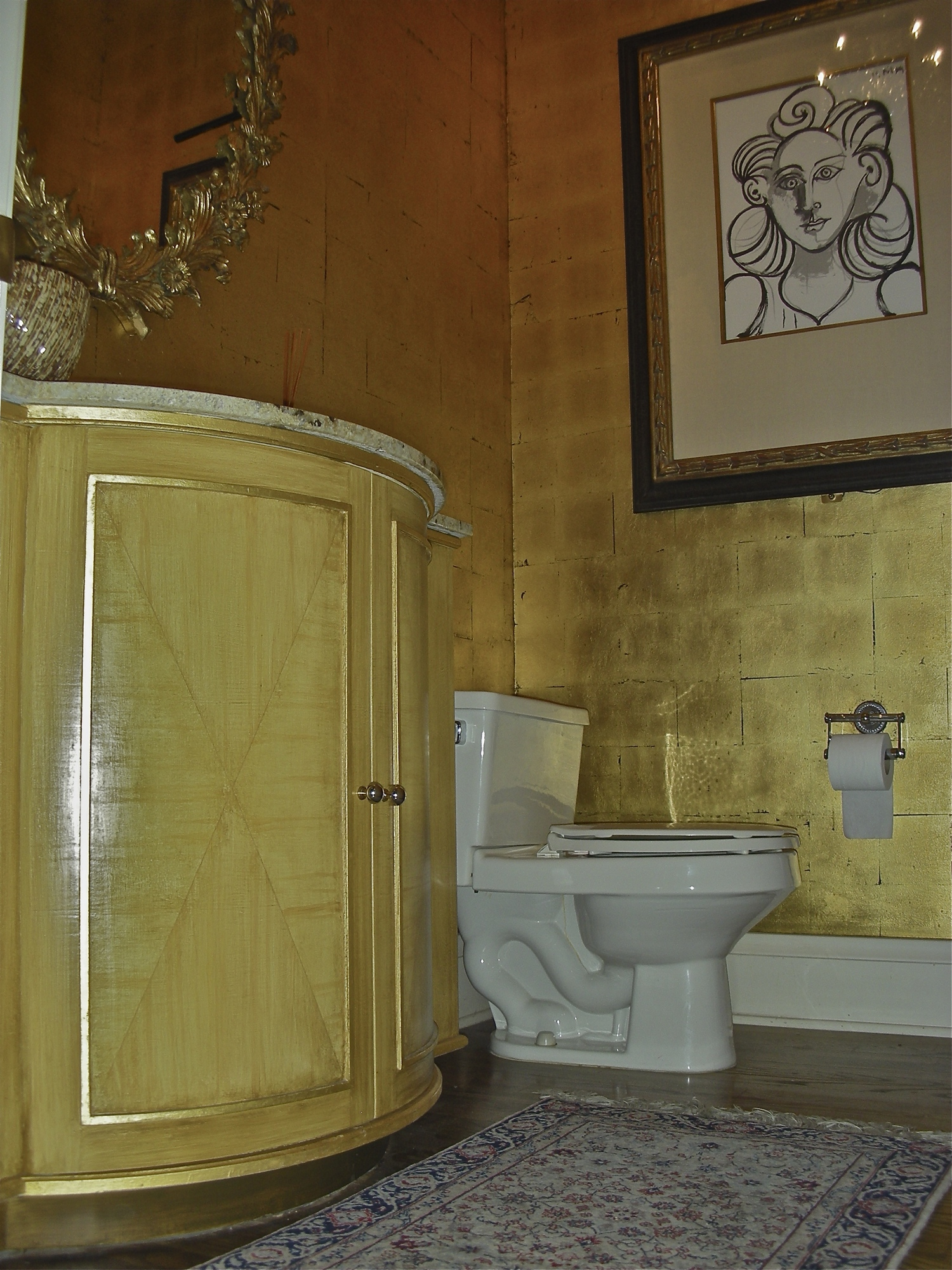 Gold Leaf Walls and Painted Vanity