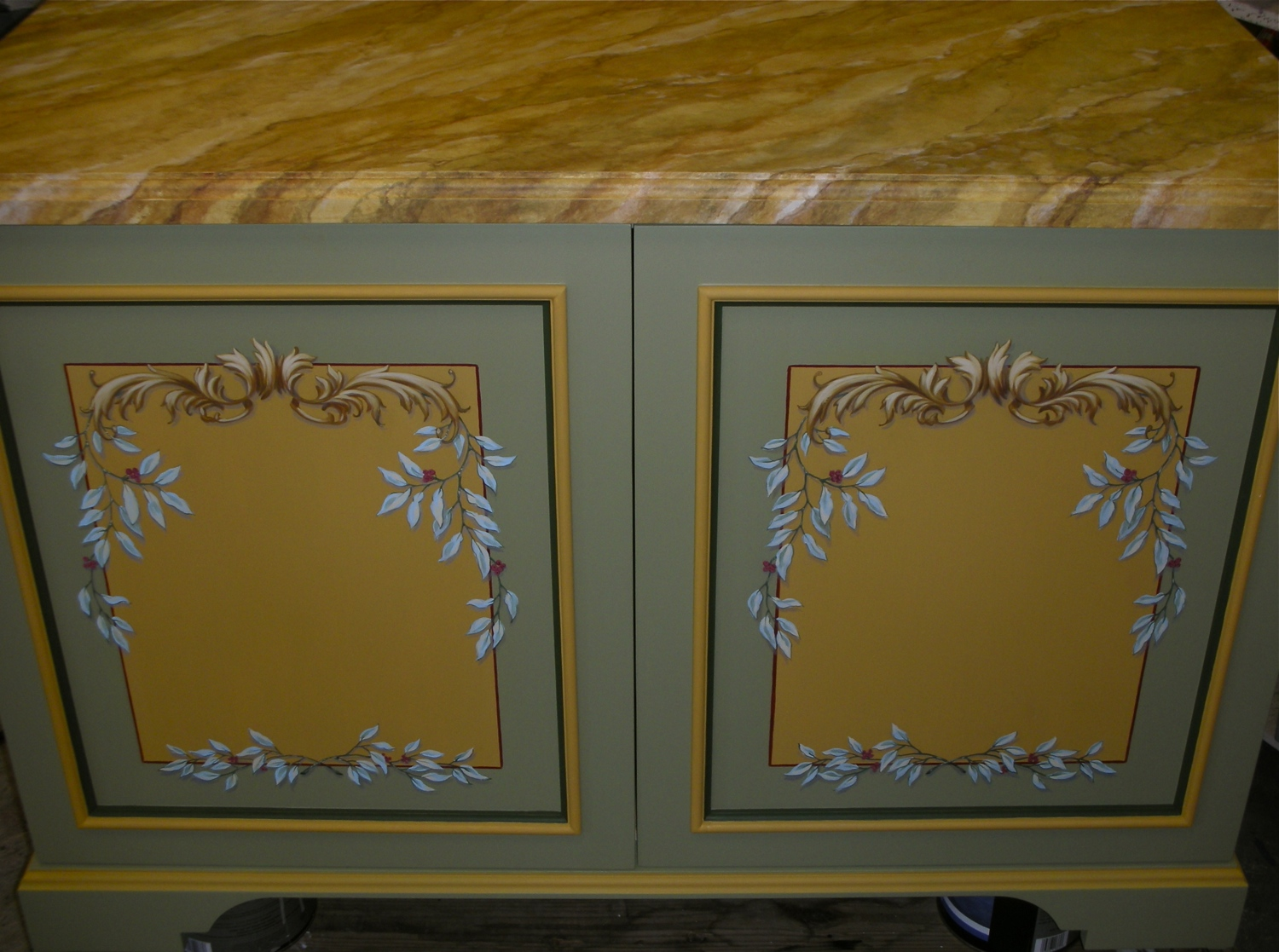 Faux Marble and Ornamented Cabinet