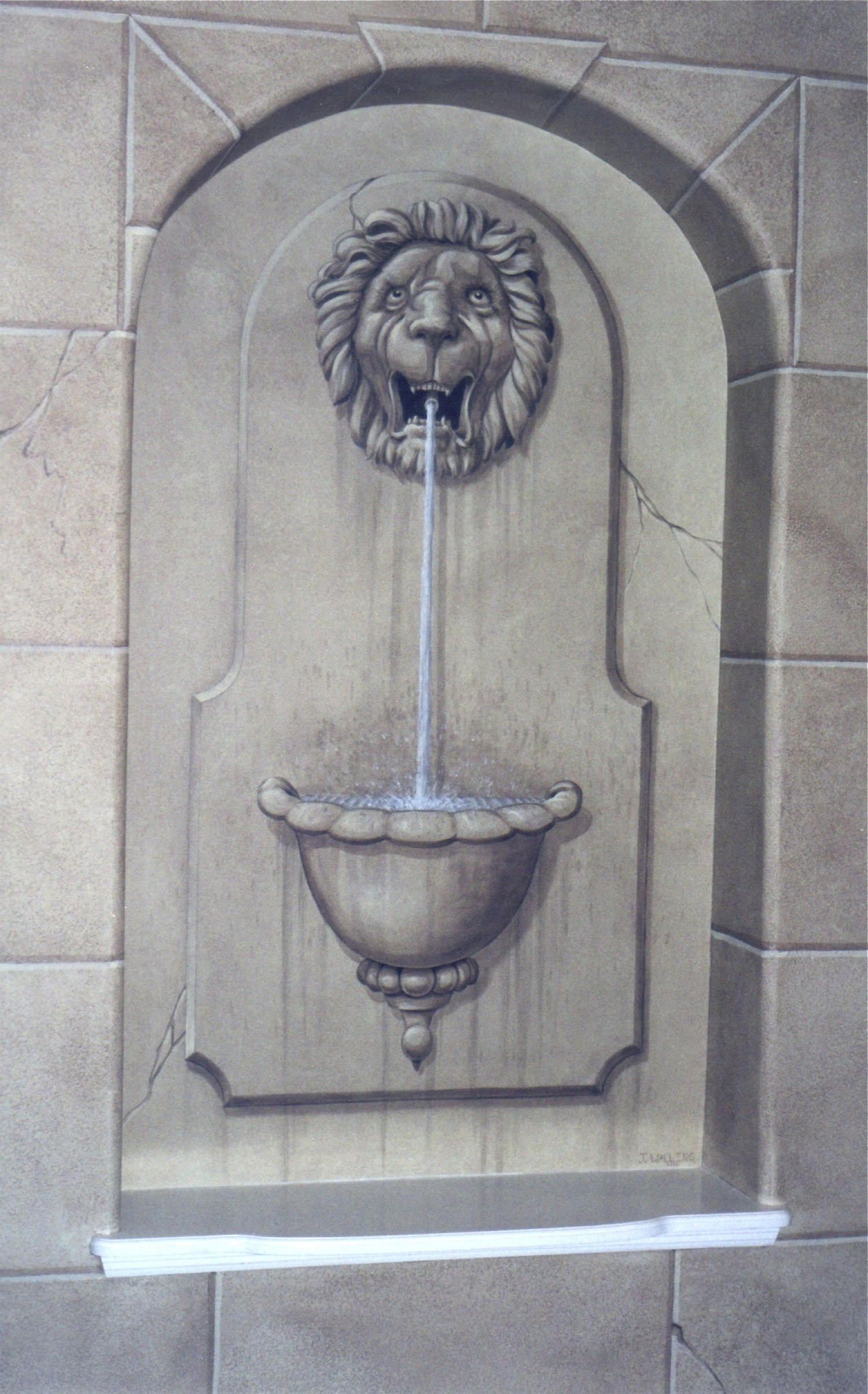 Lions Head Fountain and Faux Block