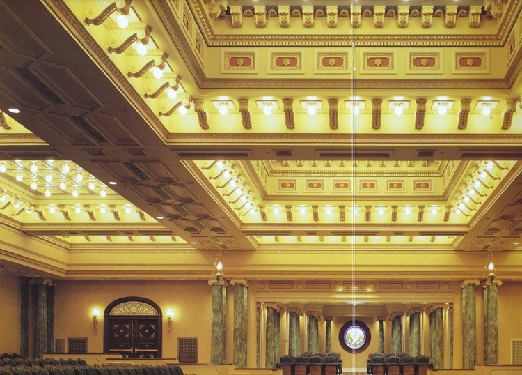 Gilded and Polychromed Coffered Ceiling with Faux Marble Columns