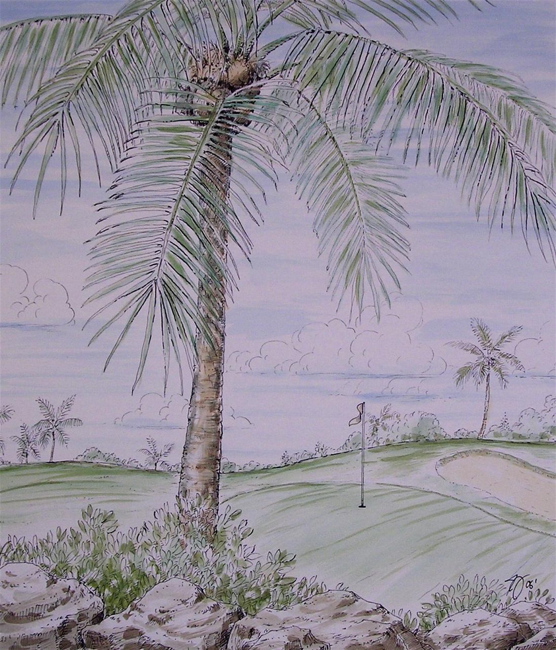 Tropical Golf Scene