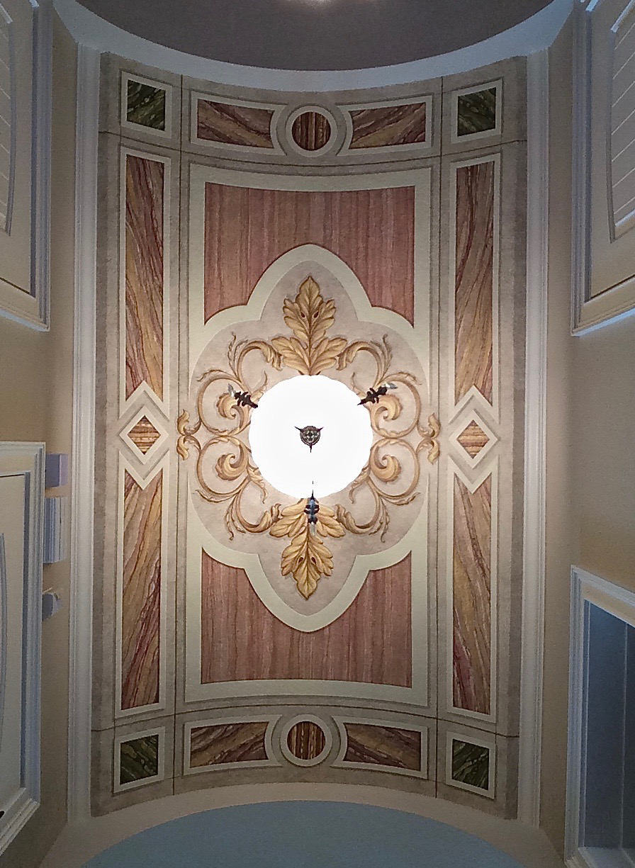 Painted Barrel Ceiling, Faux Marble & Ornament