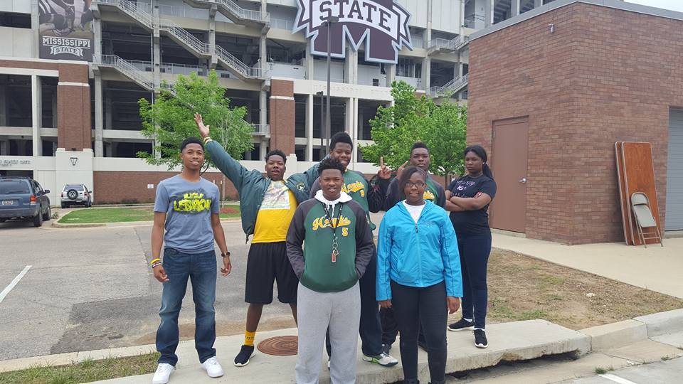 Our youth leaders touring Mississippi State. Front row: Jakieus, Brianna. Back row: Jacorious, Roderious, Keyveon, Japhabian, Makala.