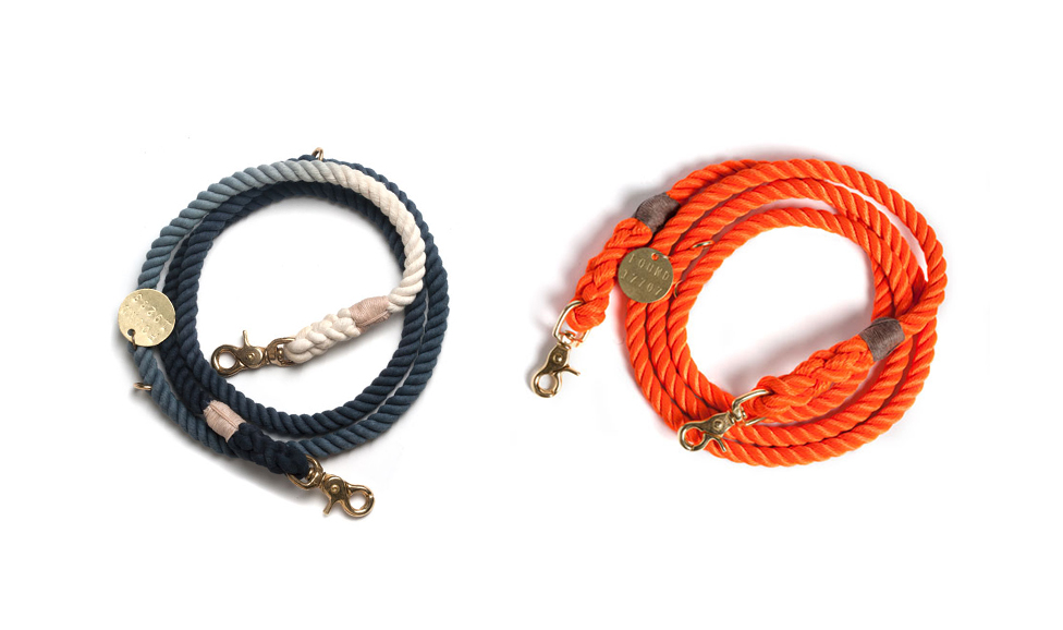 Found My Animal - black ombre rope dog leash and orange rescue dog leash