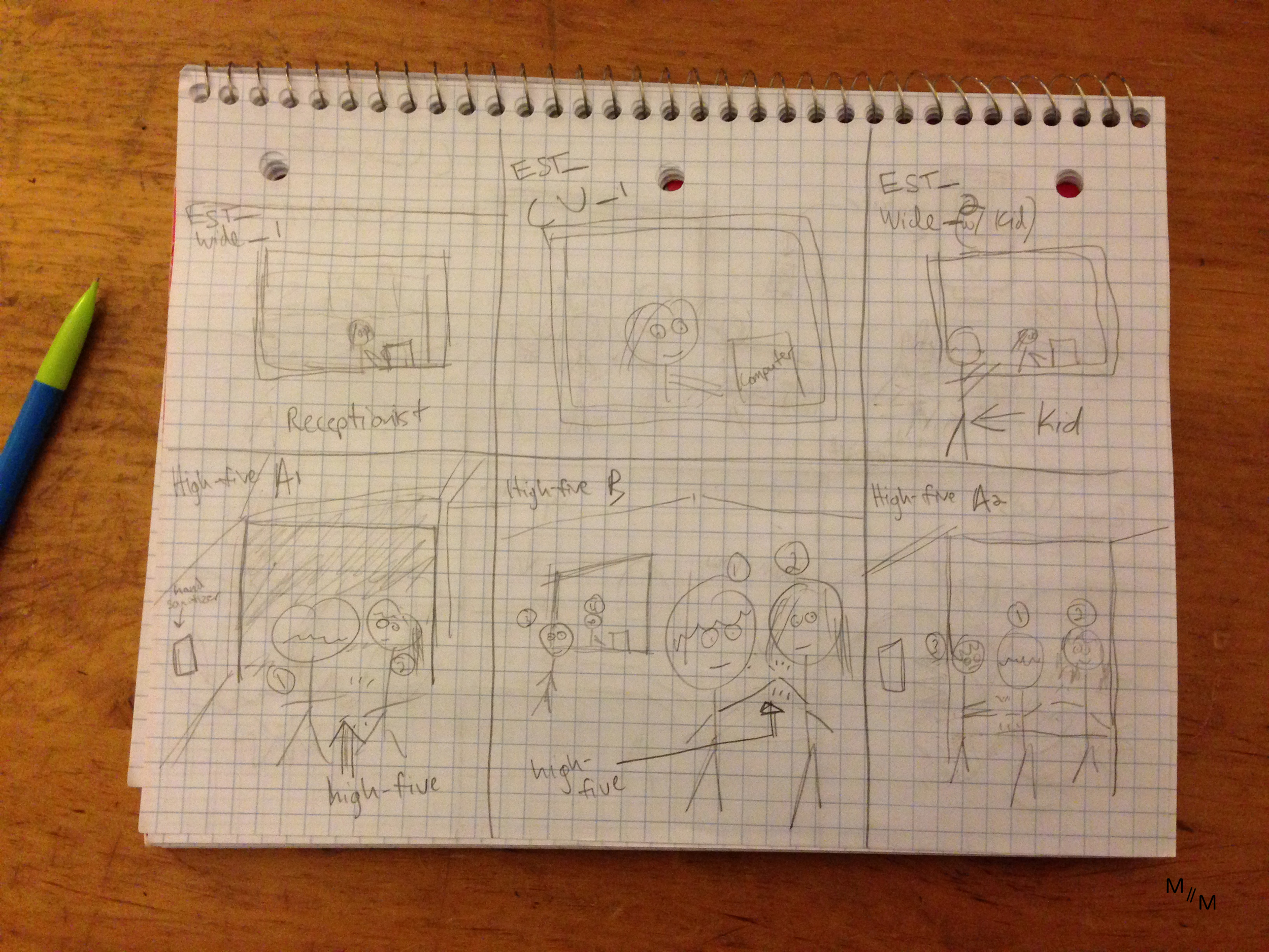 Storyboard sketch- character blocking