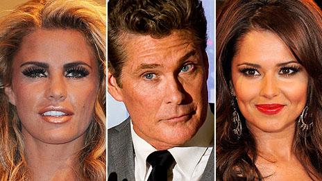 Fake tan lovers Jordan, Hasslehoff and Cheryl Cole