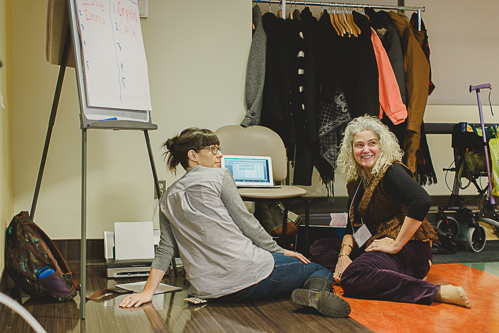 Kimber Sider and Carla Rice in a storytelling workshop