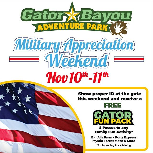 Join us this weekend at @gatorbayou to celebrate  and show support of our active duty and military veterans. Bring in your proper military ID to receive your FREE Gator Fun Pack! A $29.95 Value & No AnnualPass Required!Saturday & Sunday, November 10th - 11th10am-6pm!  Parking & Admission* is FREE for EveryoneAt Houston's ONLY Adventure Park: *Attractions Purchased Separately  #VeteransDay #MilitaryAppreciation #GatorBayou #GatorBayouAdventurePark #BigRiversWaterpark #BigRivers #Free #FreeFun #FreeAdmission #FreeThingsToDoInHouston