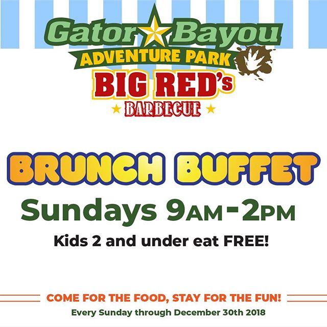 Come by @GatorBayou this Sunday to enjoy our Brunch Buffet only at  @BigRedsBarbecue_tx every Sunday from 9am -2pm  We will be serving up our regular barbecue menu throughout the weekend but Sunday is the day to take advantage of our All-You-Can-Eat Brunch Buffet!  Kids 2 and under eat FREE!  Parking & Admission* is FREE for EveryoneAt Houston's ONLY @GatorBayou Adventure Park *Attractions Purchased Separately : #GatorBayou #Brunch #Buffet #GatorBayouAdventurePark #BigRiversWaterpark #BigRivers #Free #FreeFun #FreeAdmission #FreeThingsToDoInHouston