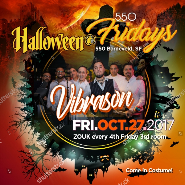 Join VibraSON for a great HALLOWEEN version of 550 Dance Fridays - biggest party in town - on 27 October, 2017 in SF
