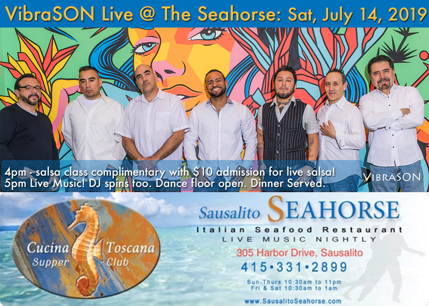 VibraSON returns to the always vibrant Seahorse Salsa Sundays on 9 June AND a return engagement on Sunday 14 July!