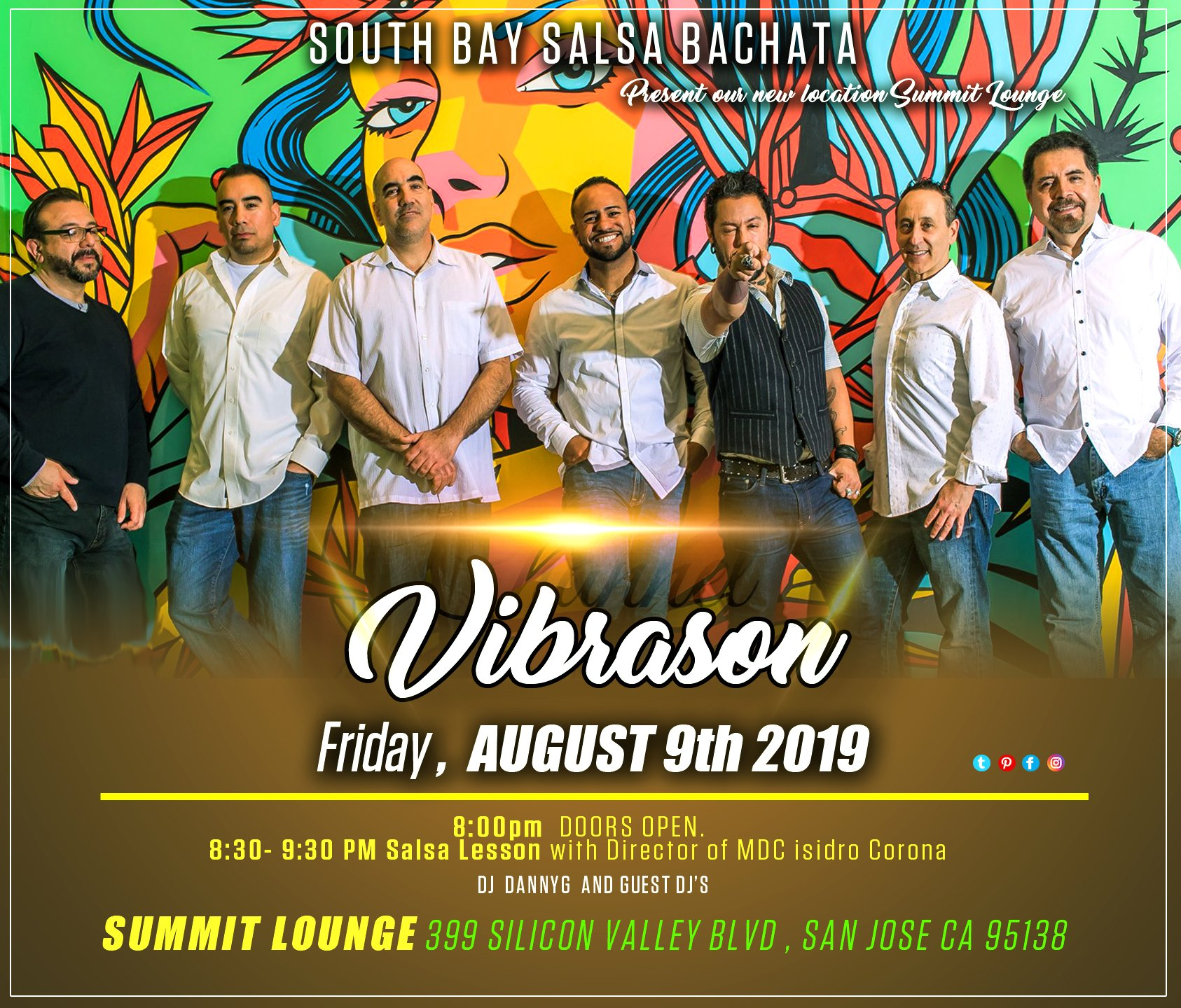 Join VibraSON LIVE at Summit Lounge in San Jose on AUG 9 (S Jose Jazz SummerFest after party ;) Dance lesson 8:30pm, DJ DannyG 9:30pm, VibraSON 10:30pm