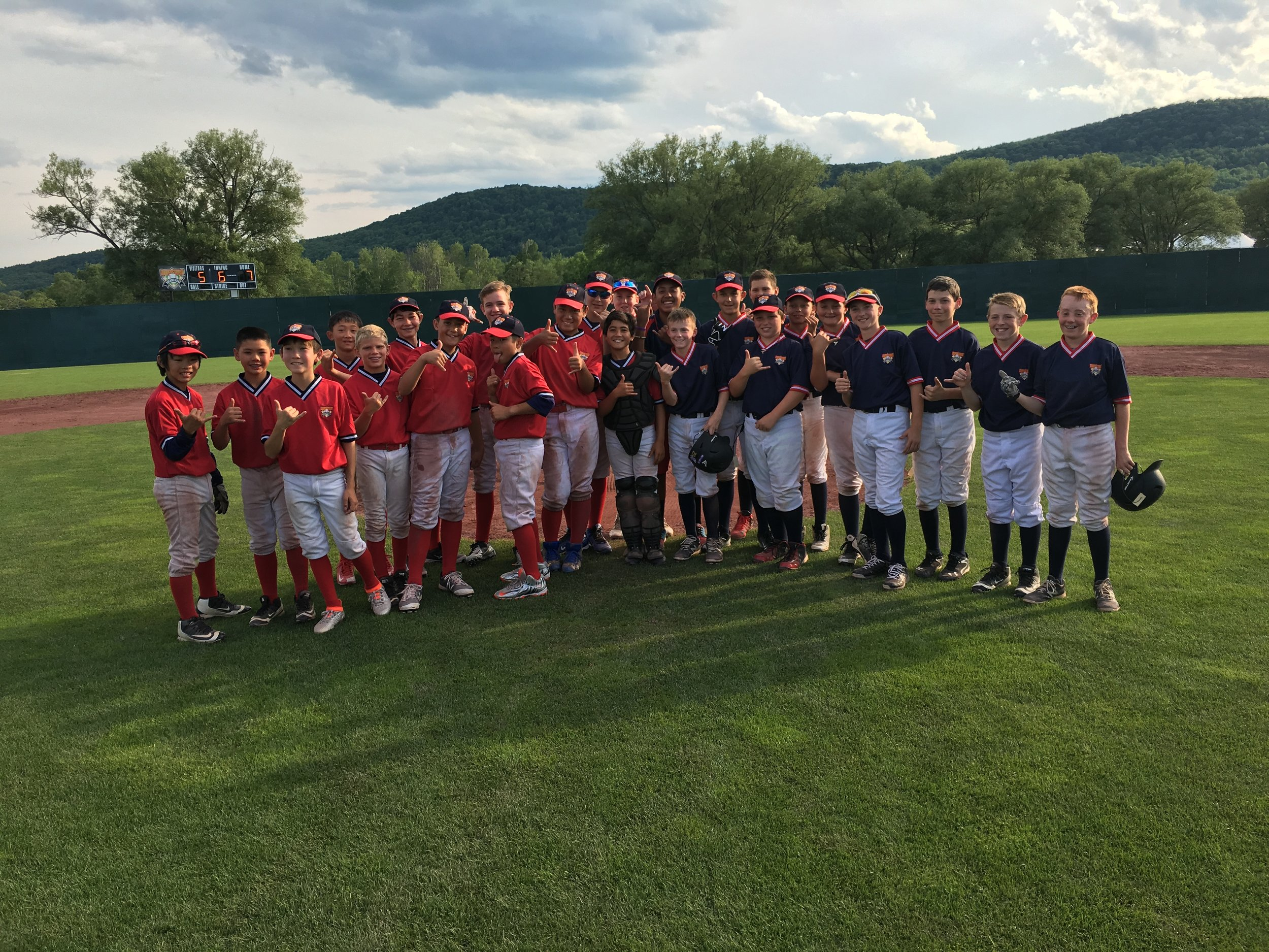 12U HITS ELITE at COOPERSTOWN DREAMS PARK post game picture with a team from HONOLULU, HAWAII
